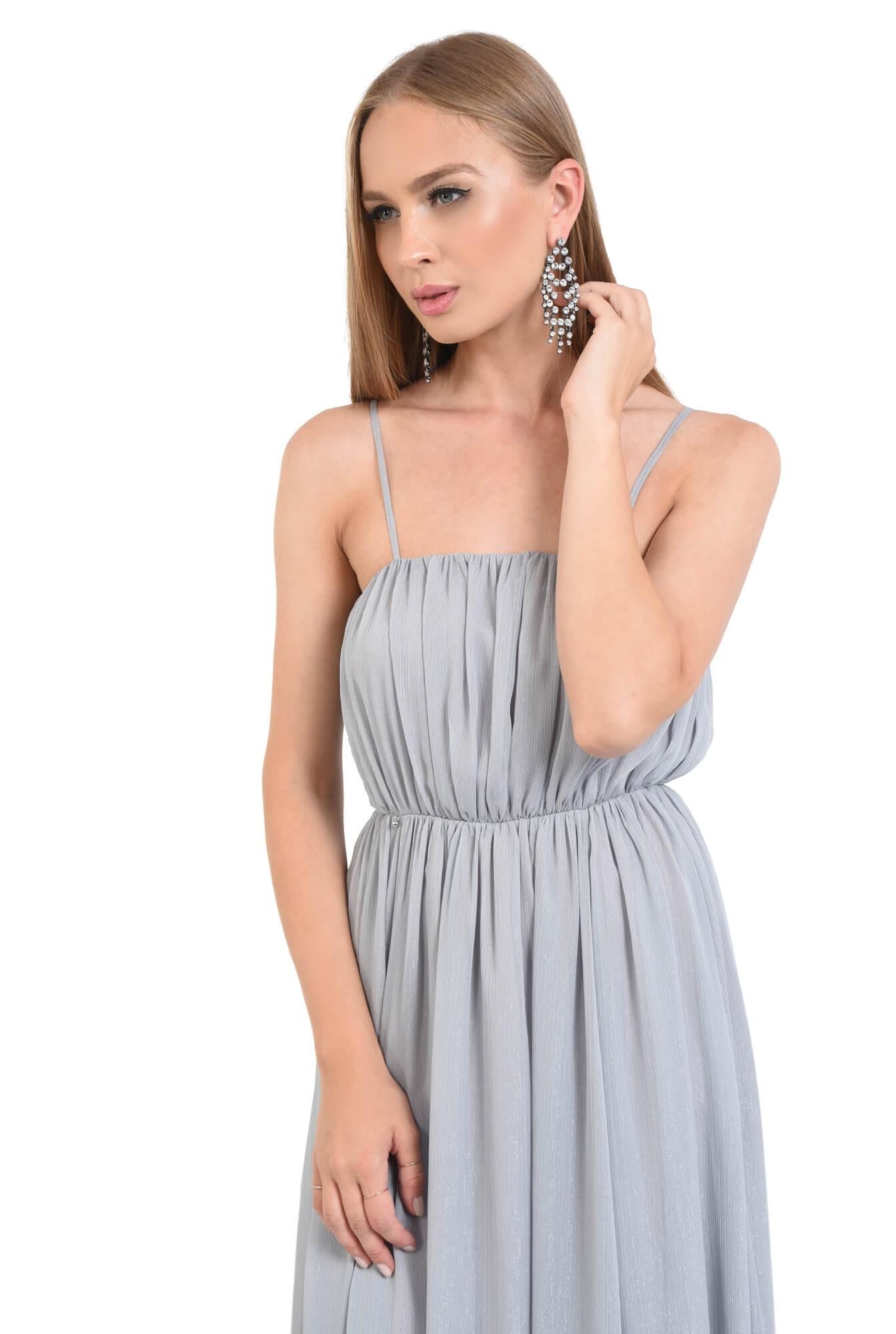 rochie de seara, pliuri, argintiu, lunga, voal
