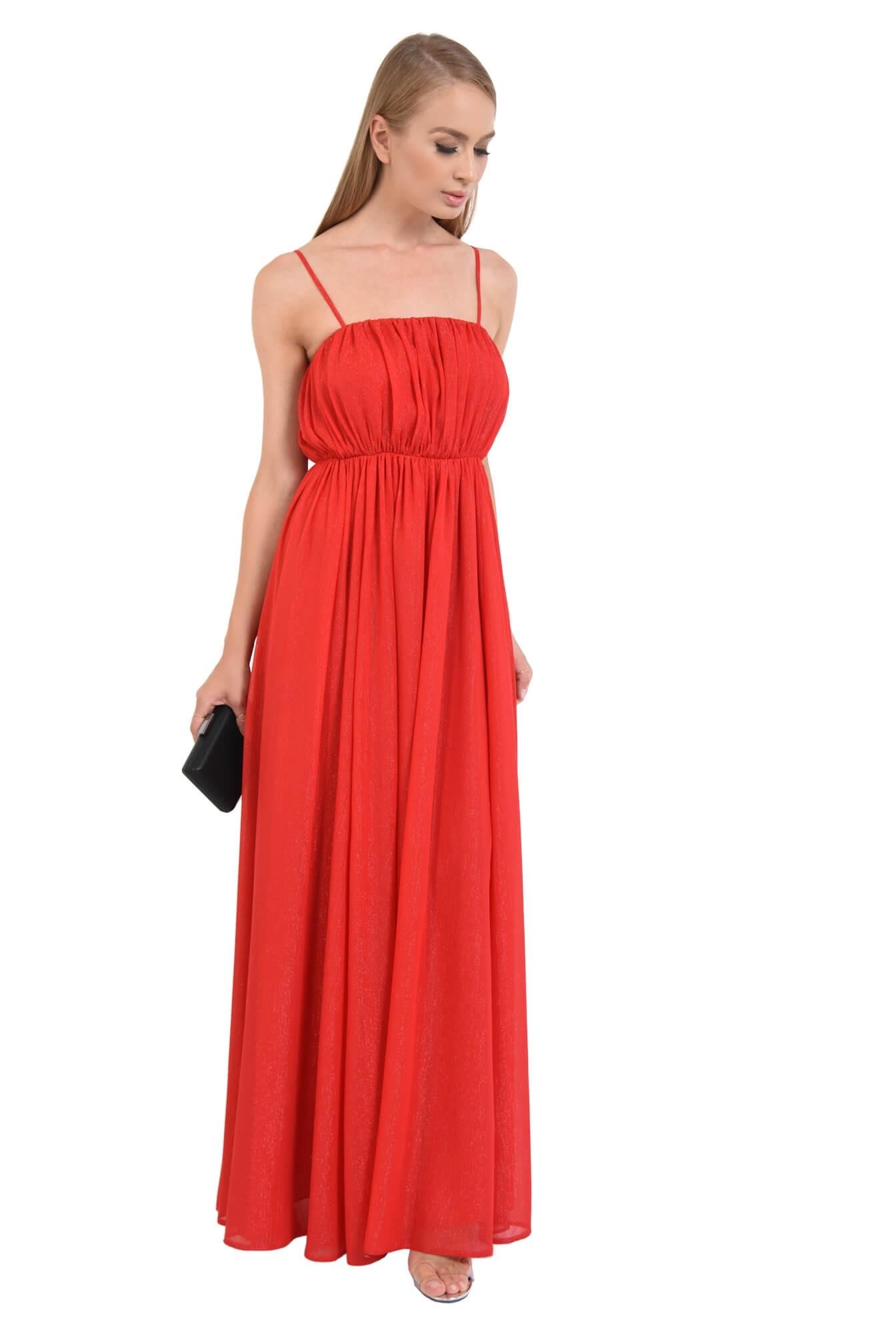 rochie de seara, lunga, rosu, voal