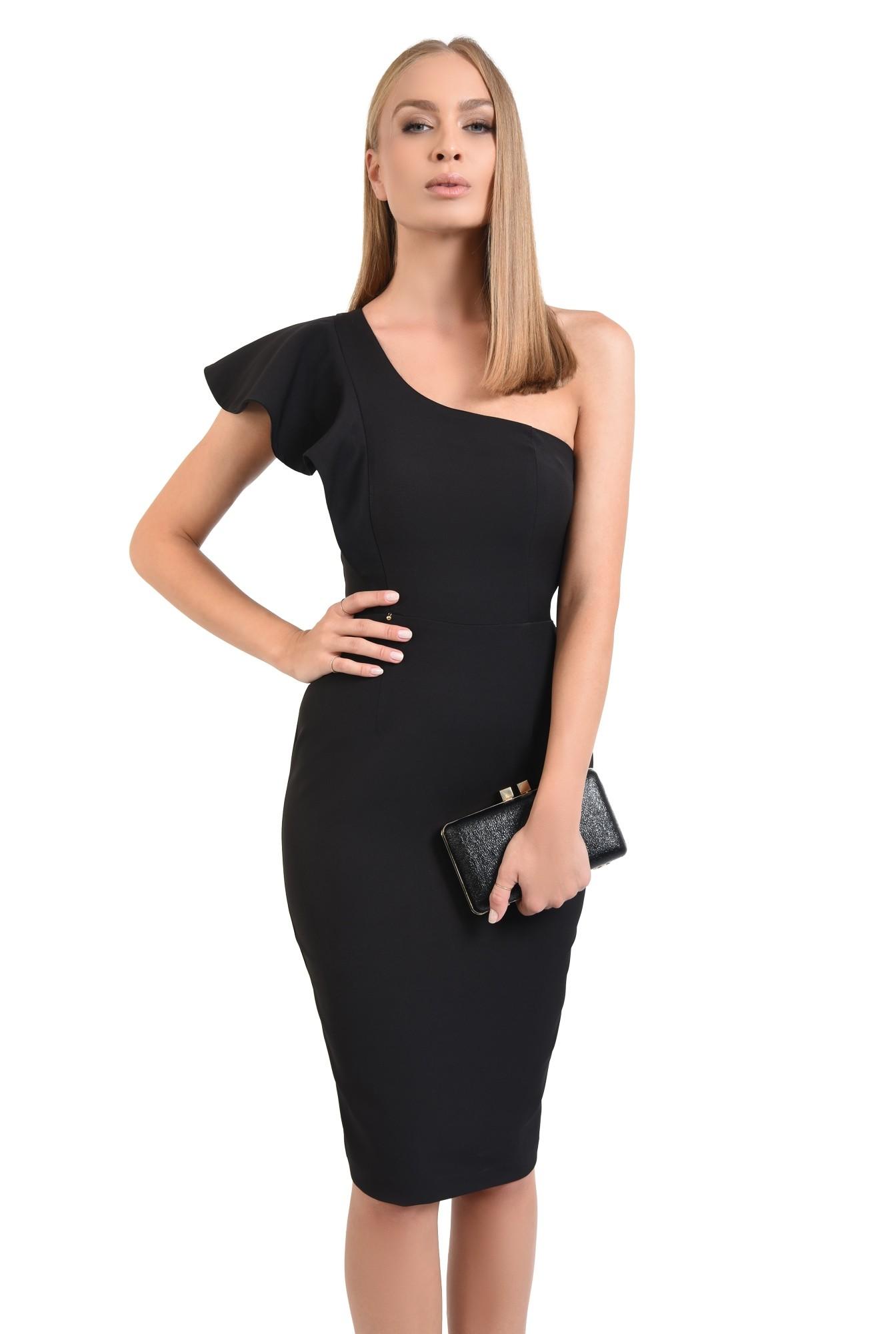 rochie neagra, de seara, volan la umar, rochii online