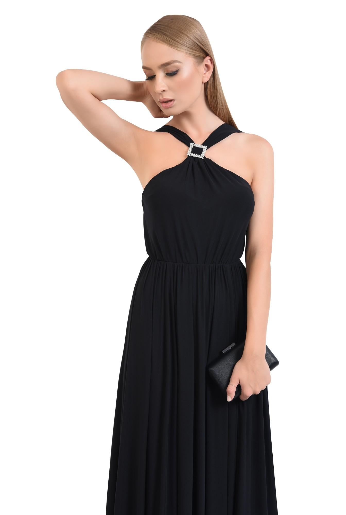 rochie de ocazie cu bretele, catarama argintie, croi evazat, rochii online