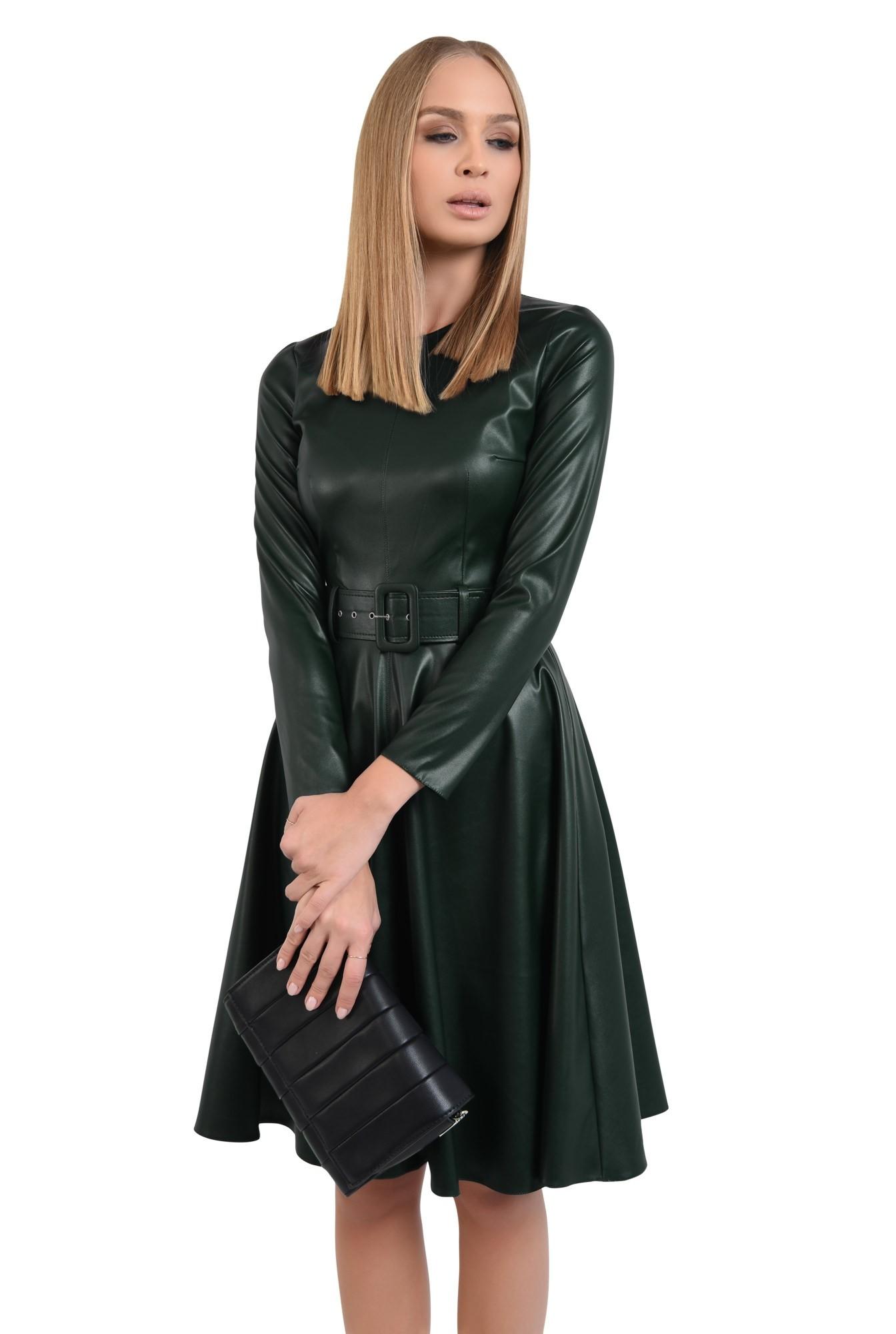 rochie casual verde, centura, cambrata, fermoar la spate, rochii online