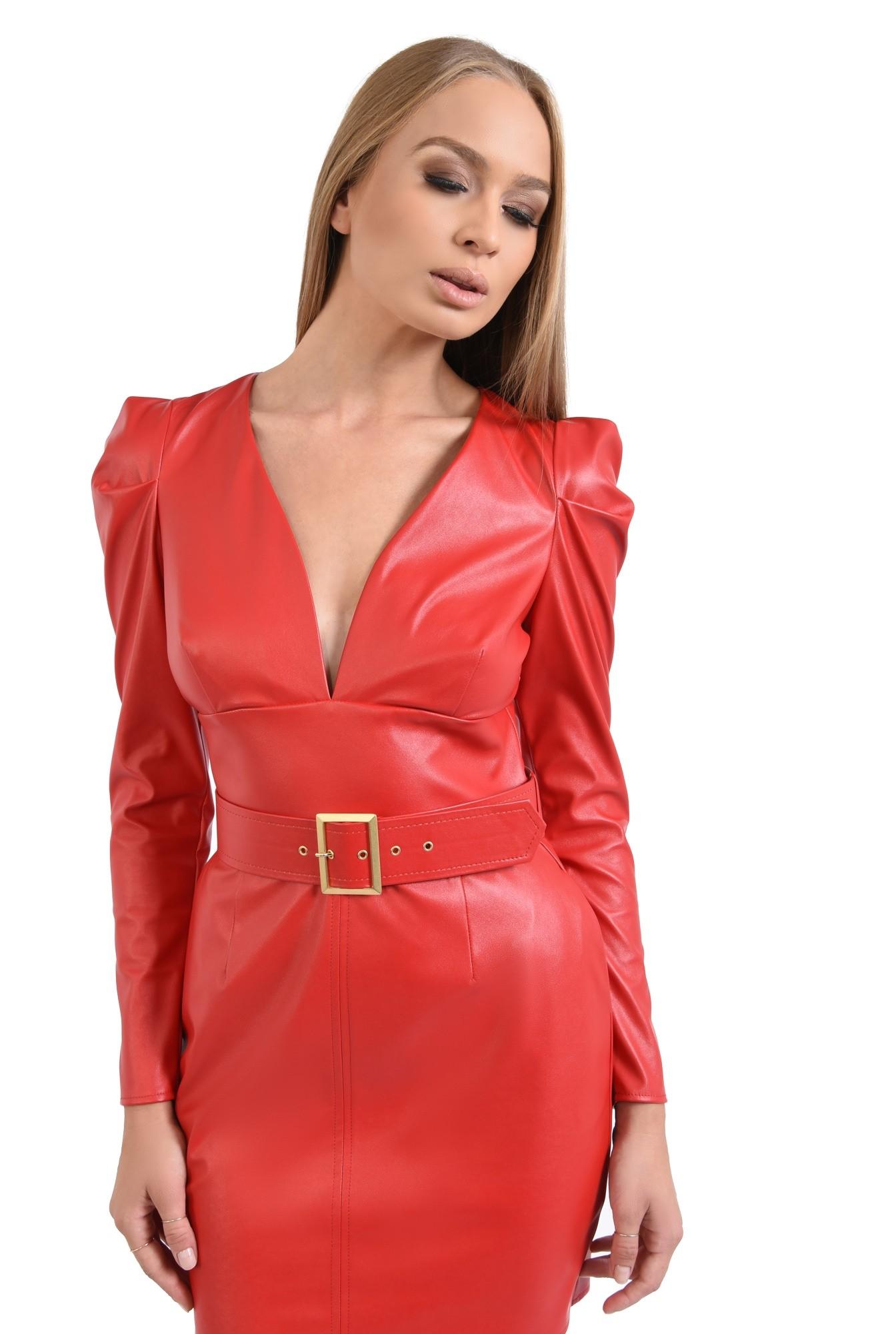 rochie mini, rosie, anchior, cu centura