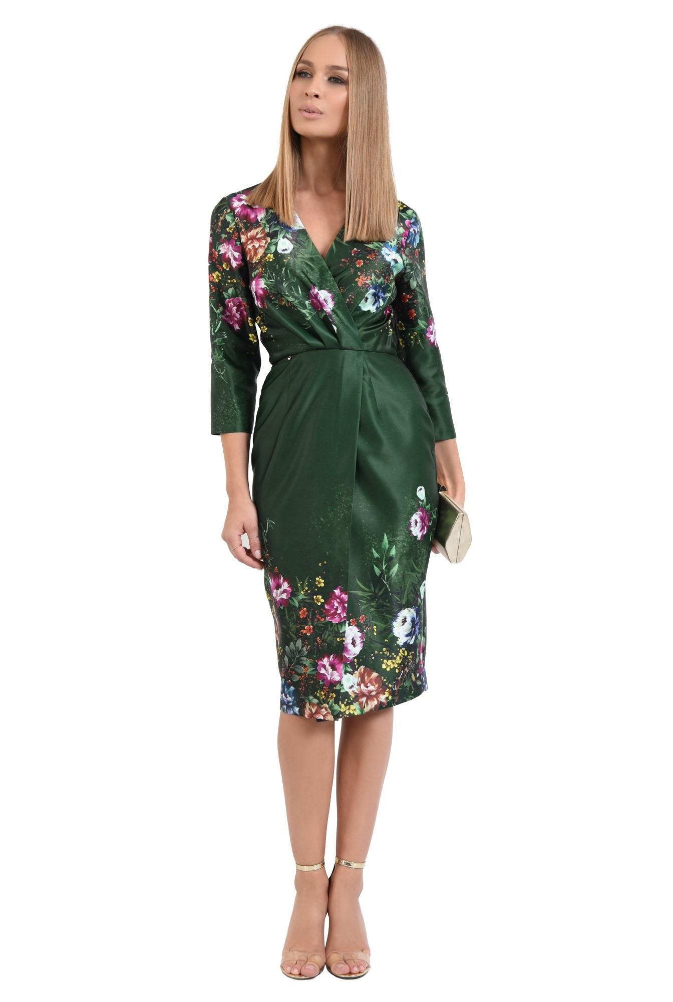 rochie conica, midi, petrecuta, de ocazie, motive florale