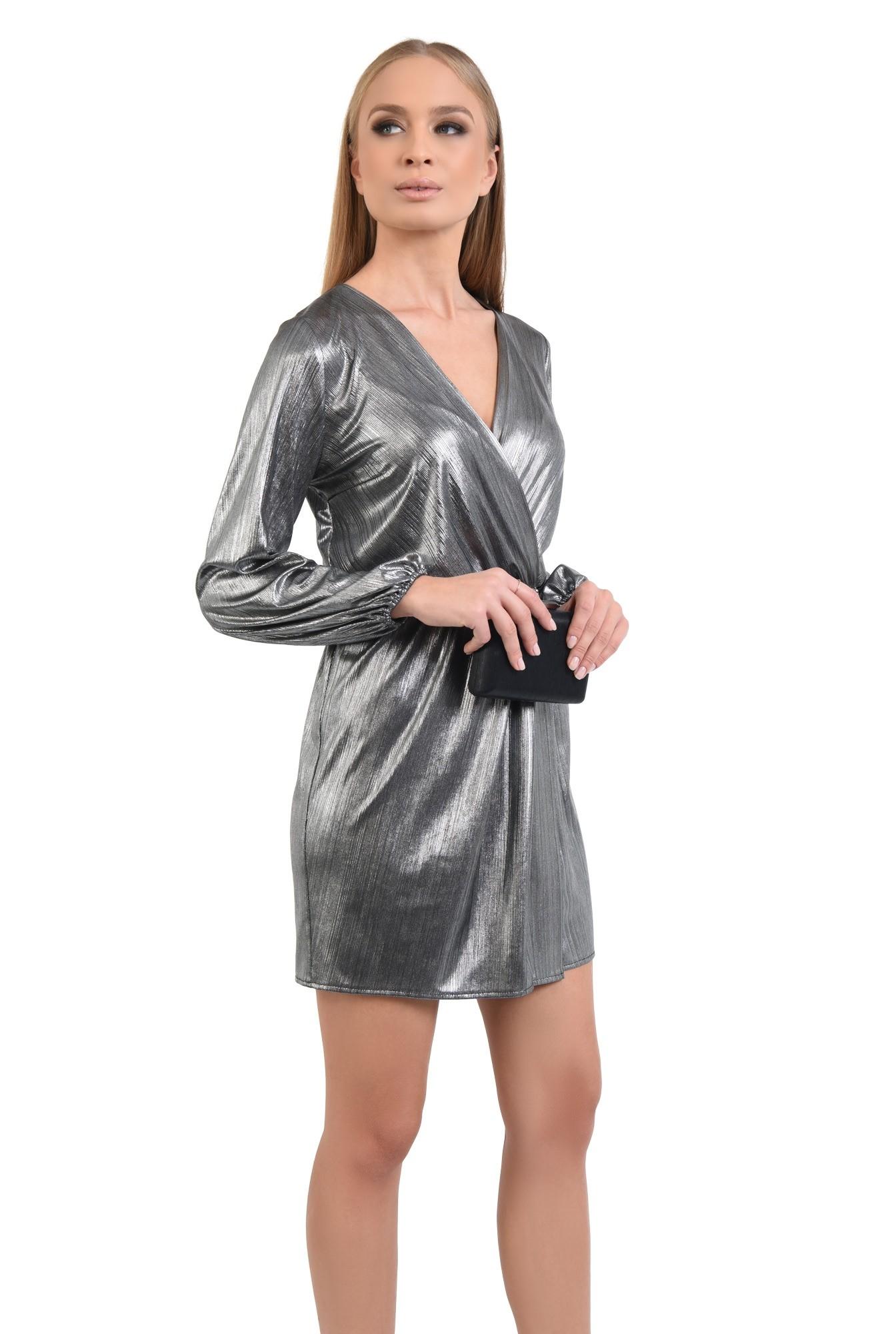 rochie de seara, lurex argintiu, talie elastica, anchior petrecut