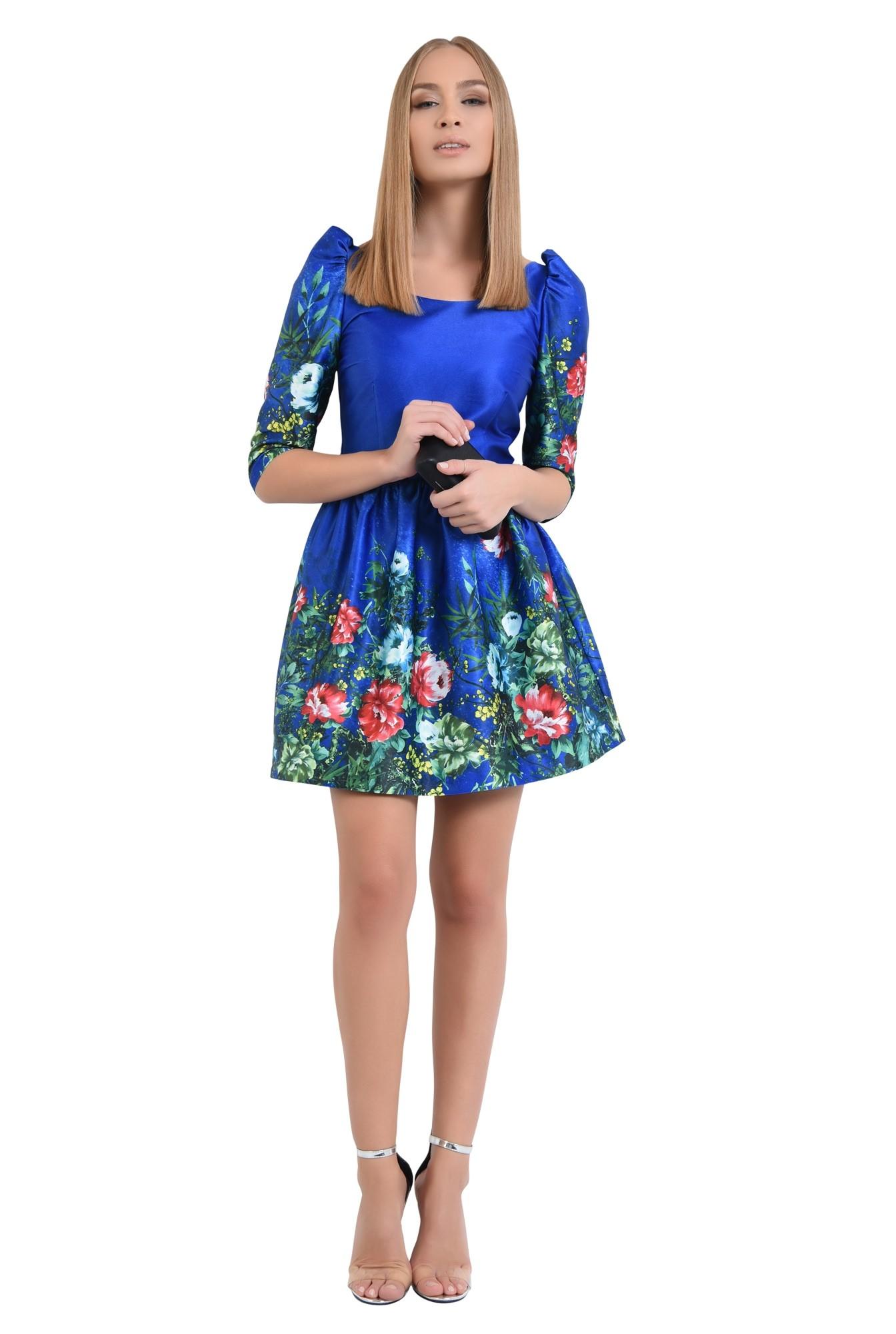 rochie de ocazie, tafta cu imprimeu, albastru, flori