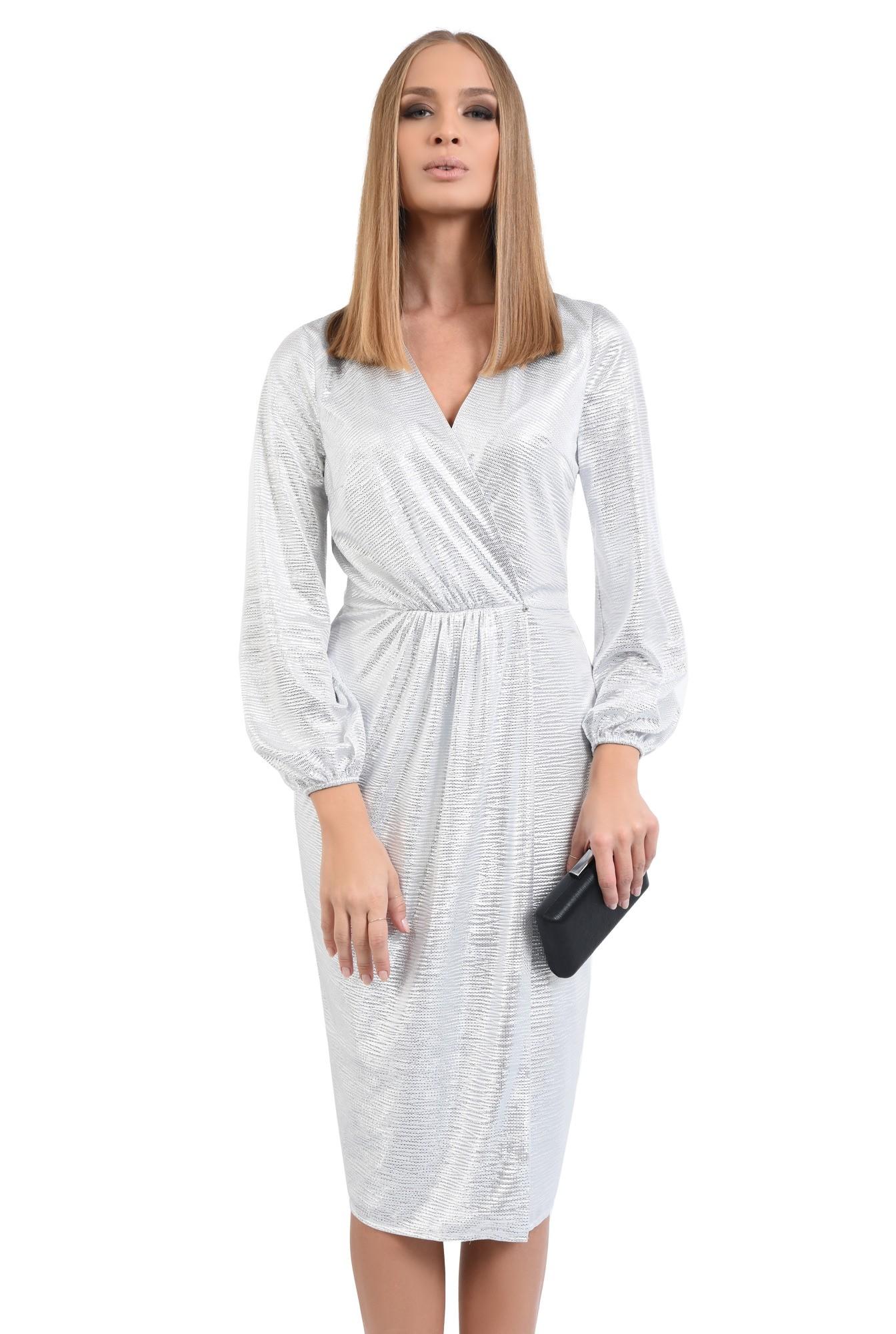 rochie de seara, petrecuta, din lurex, argintie, drapata