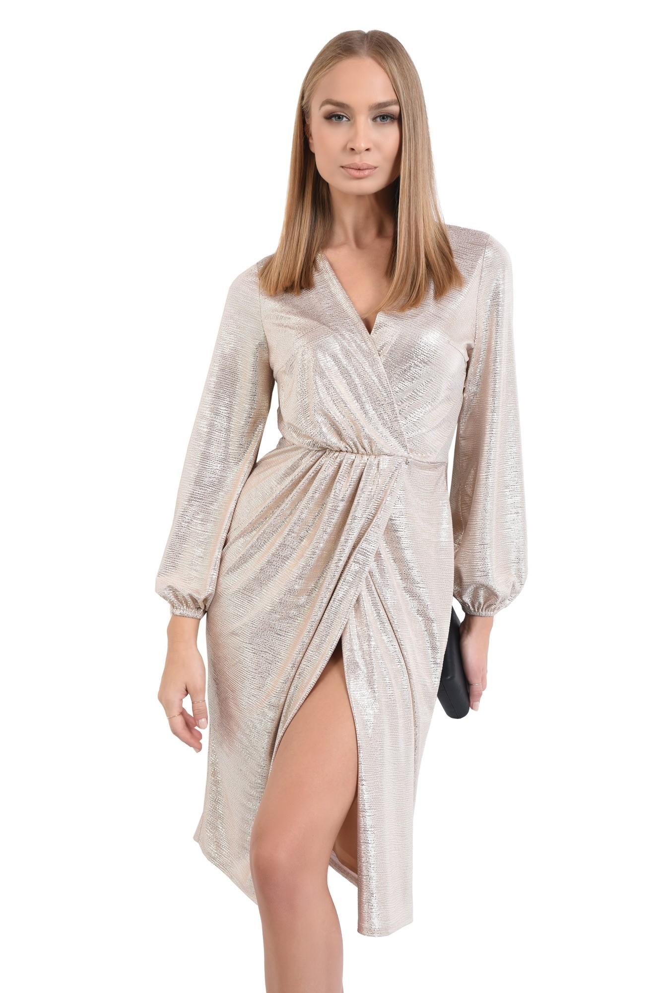 rochie de ocazie, din lurex auriu, anchior, parte peste parte