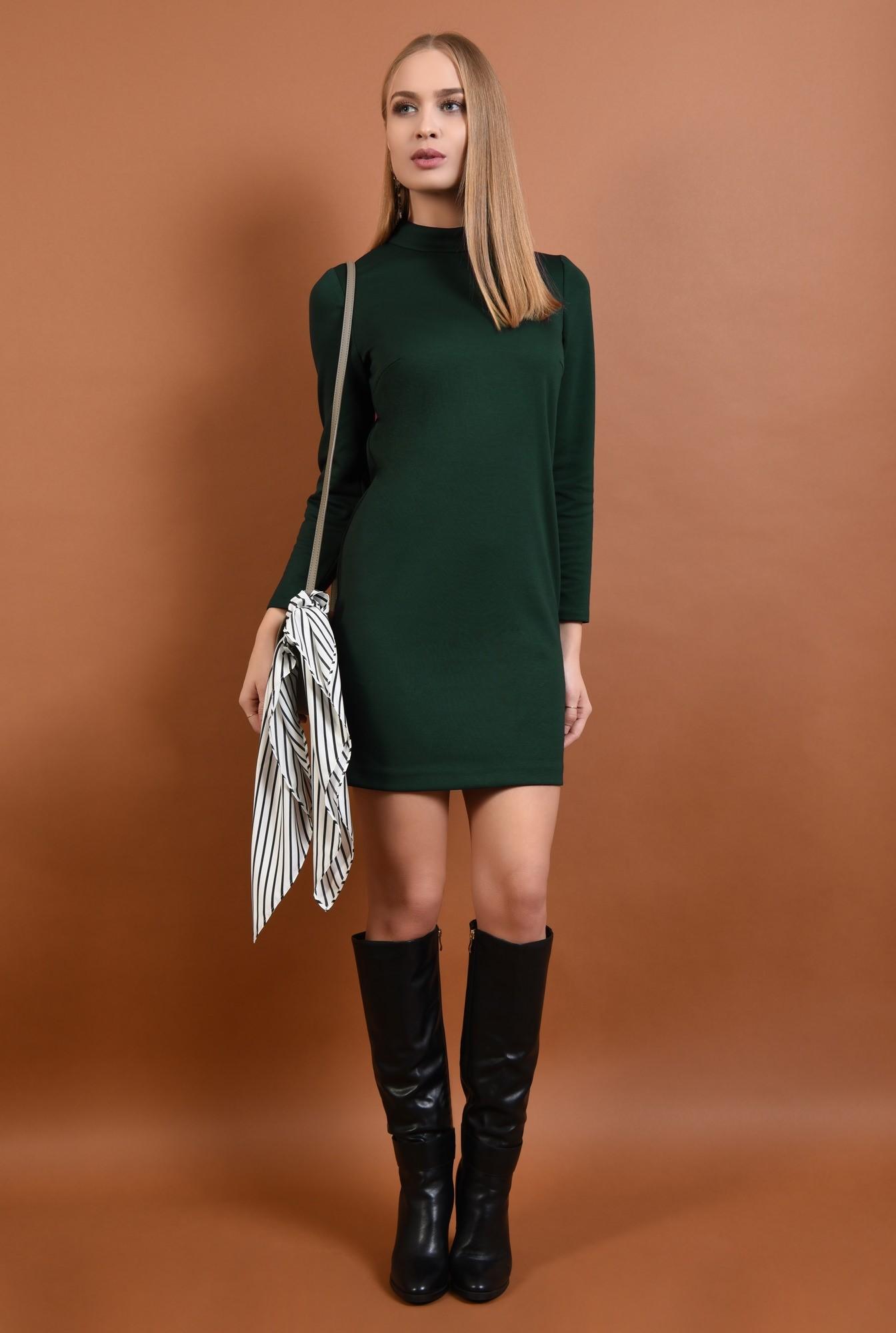 360 - rochie casual, scurta, verde, maneci lungi, guler inalt