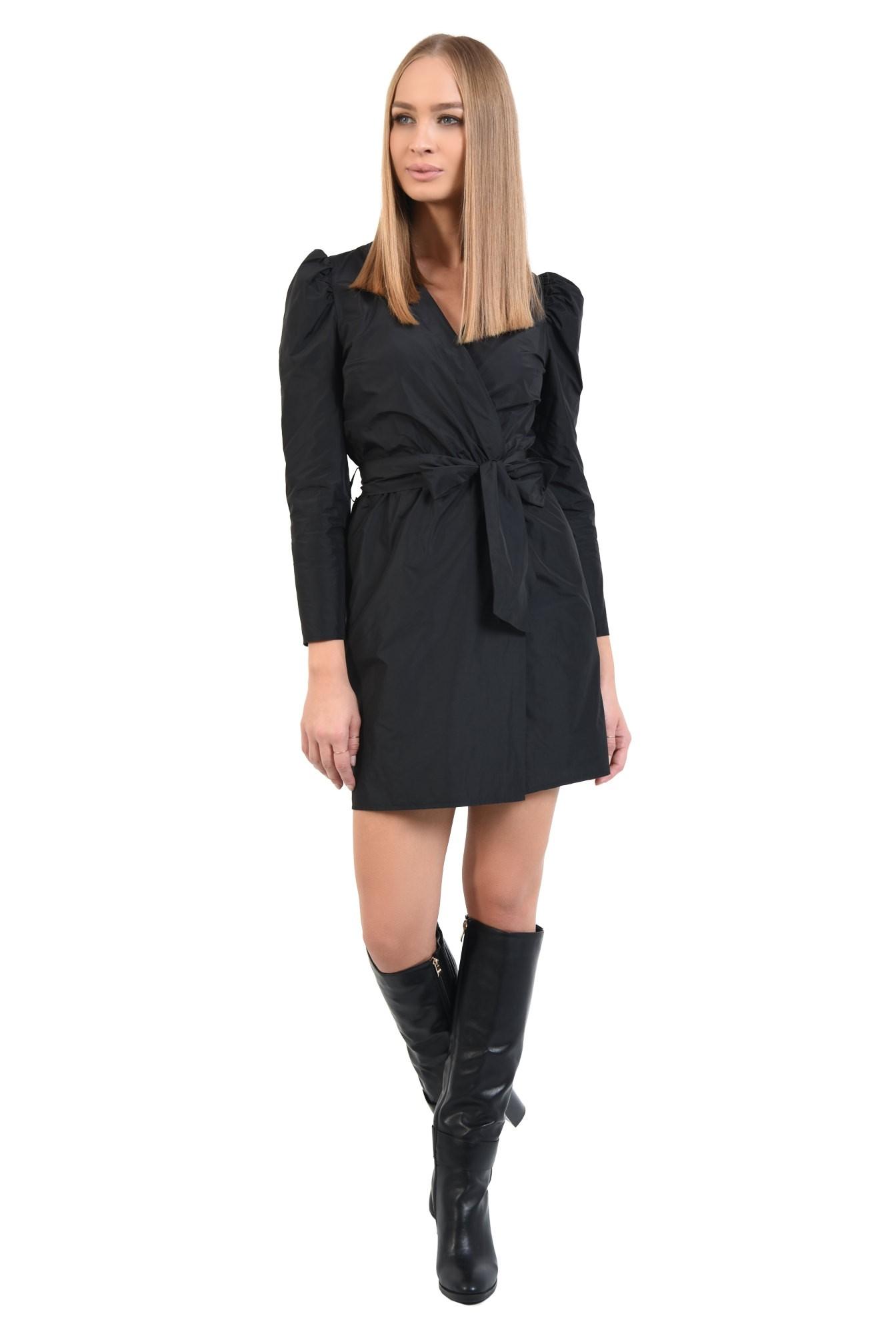 360 - rochie casual, scurta, petrecuta, neagra, cu cordon