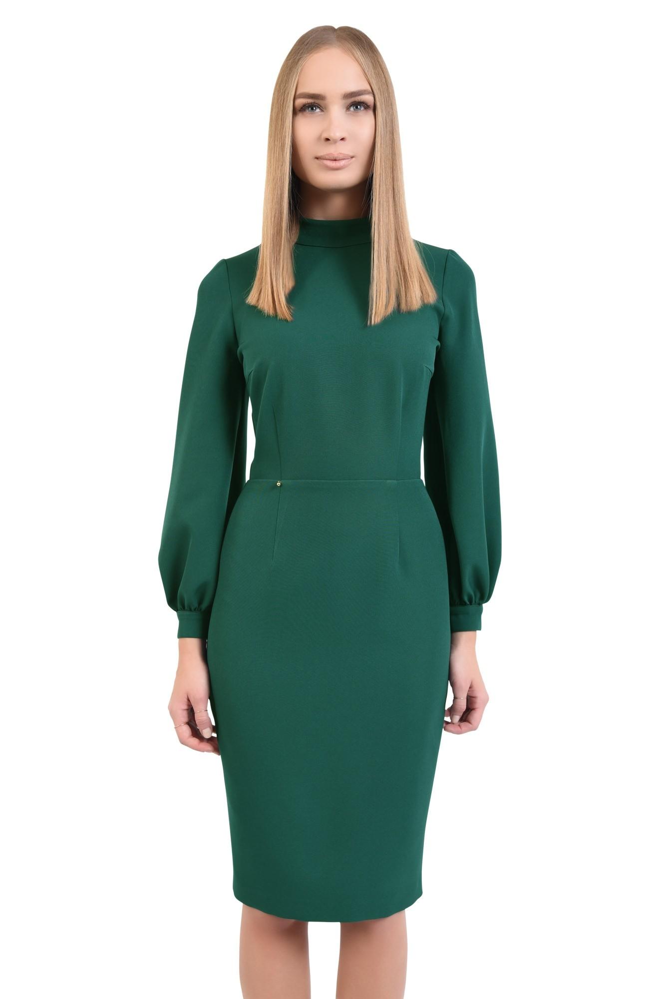 rochie verde, de zi, croi conic, cusatura in talie, guler inalt