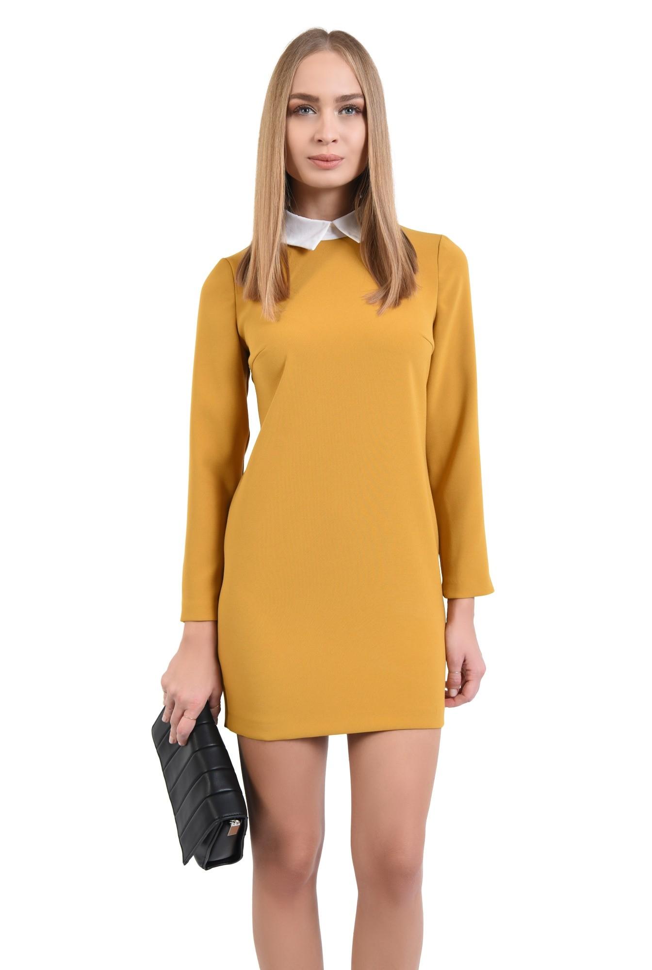 rochie casual, croi drept, guler alb, rochii online