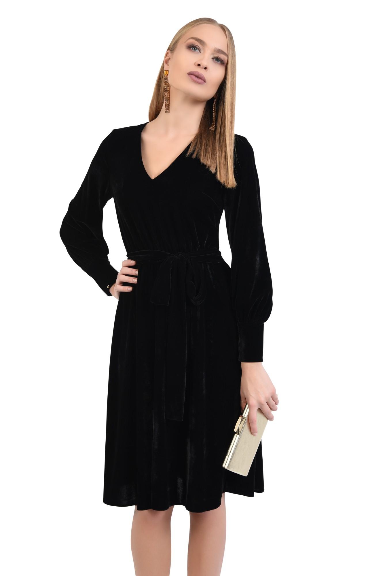 rochie eleganta, neagra, midi, clos, cu cordon