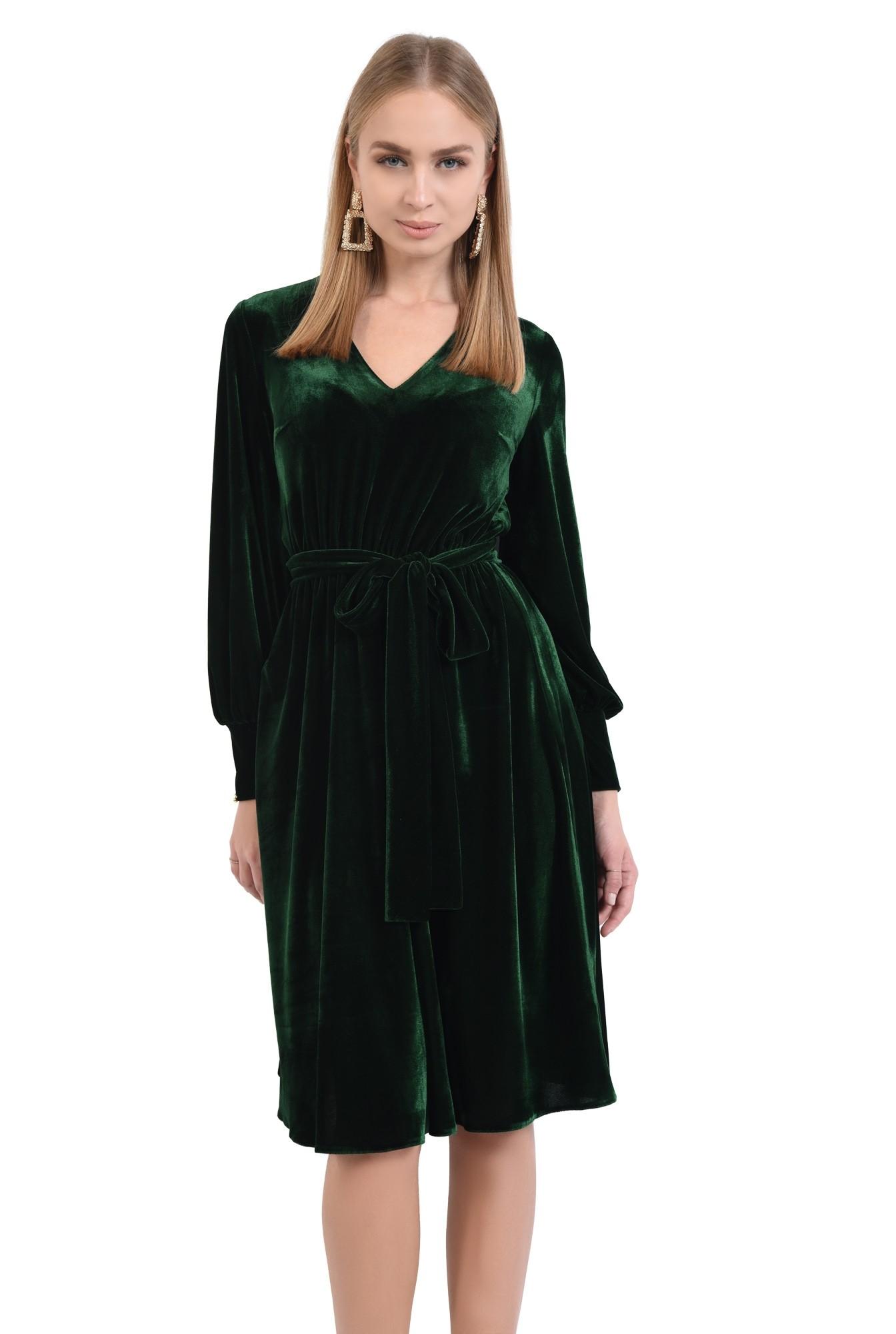 rochie midi, funda la talie, rochii online. croi evazat, maneci lungi cu mansete