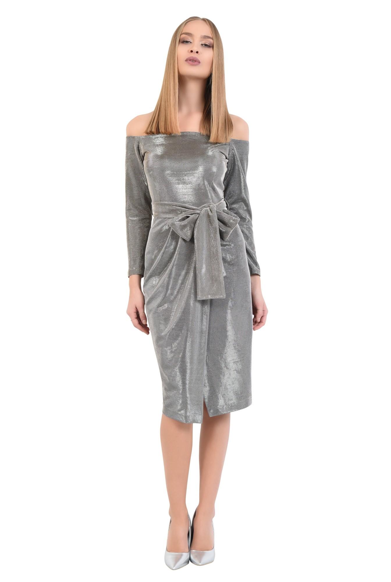 360 - rochie eleganta, din lurex, cu sclipici, cu funda