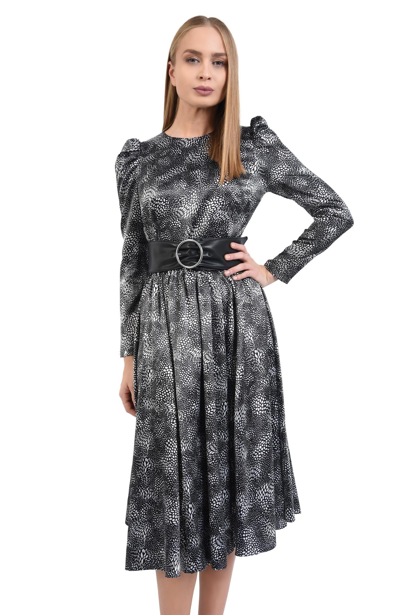 rochie eleganta, clos, cusatura in talie, maneci lungi, satin imprimat