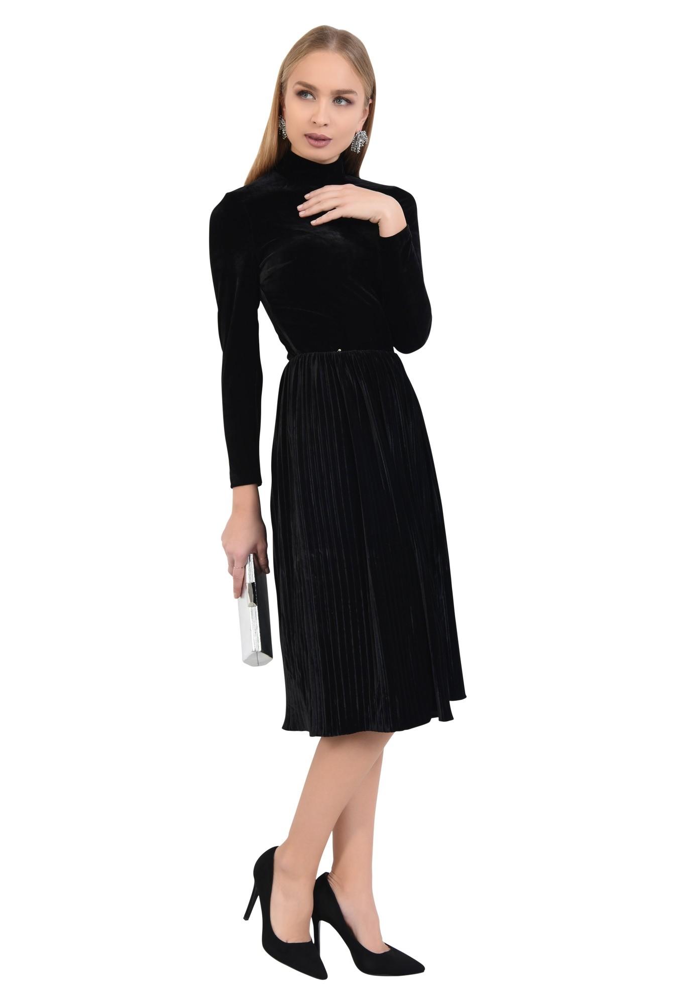 rochie eleganta, din catifea, cu pliseuri, cu guler, rochii online