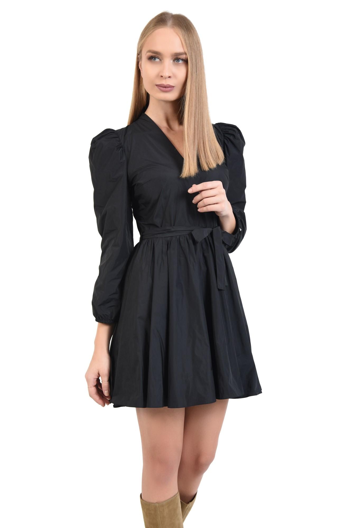 rochie casual, neagra, scurta, maneci lungi bufante, funda la talie