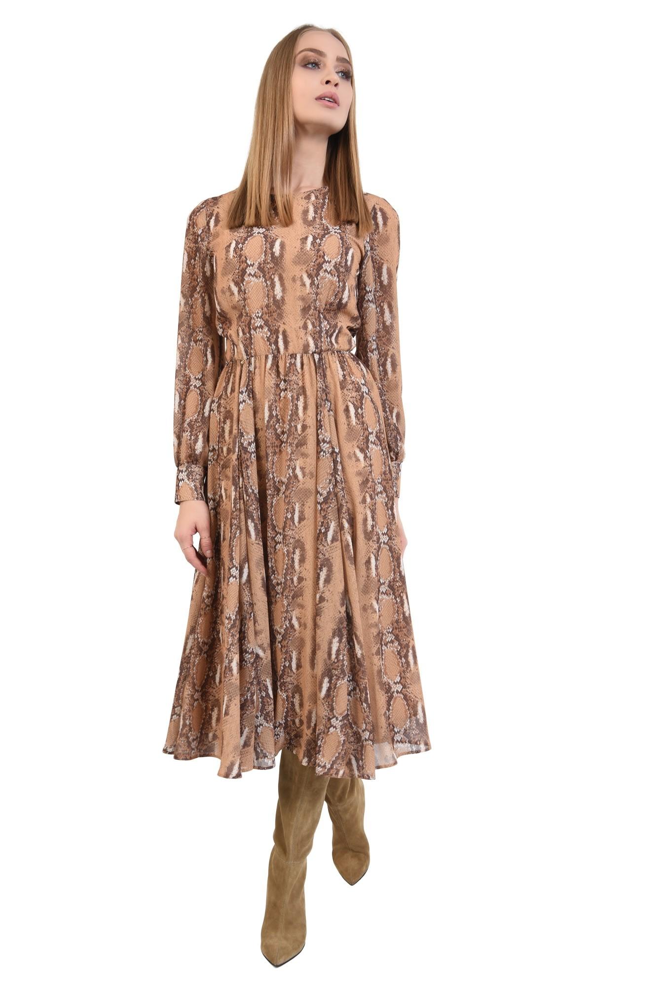 rochie de zi, din voal imprimat, maneci lungi, decolteu la baza gatului