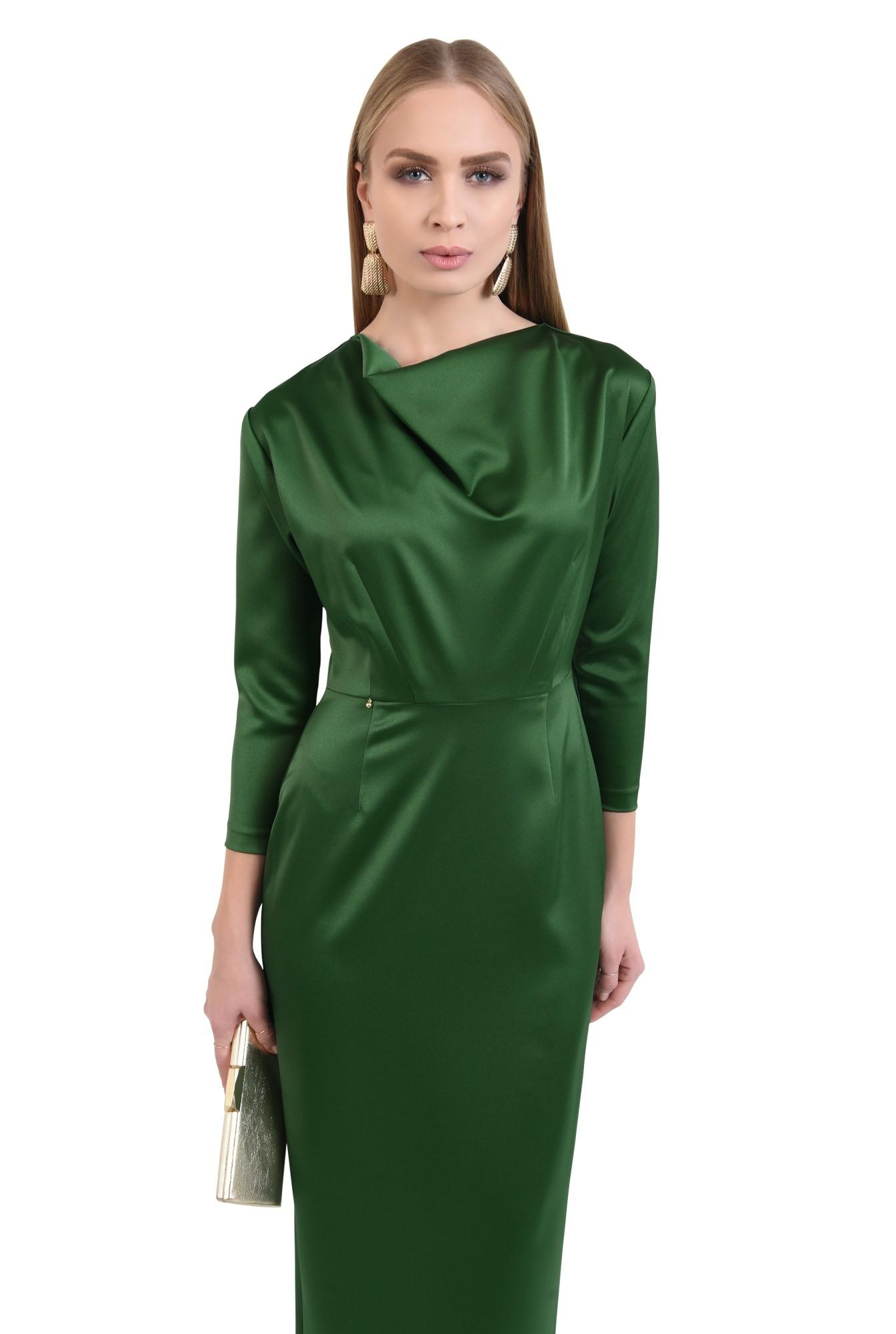 rochie de ocazie, verde, maneci ajustate, drapata la decolteu