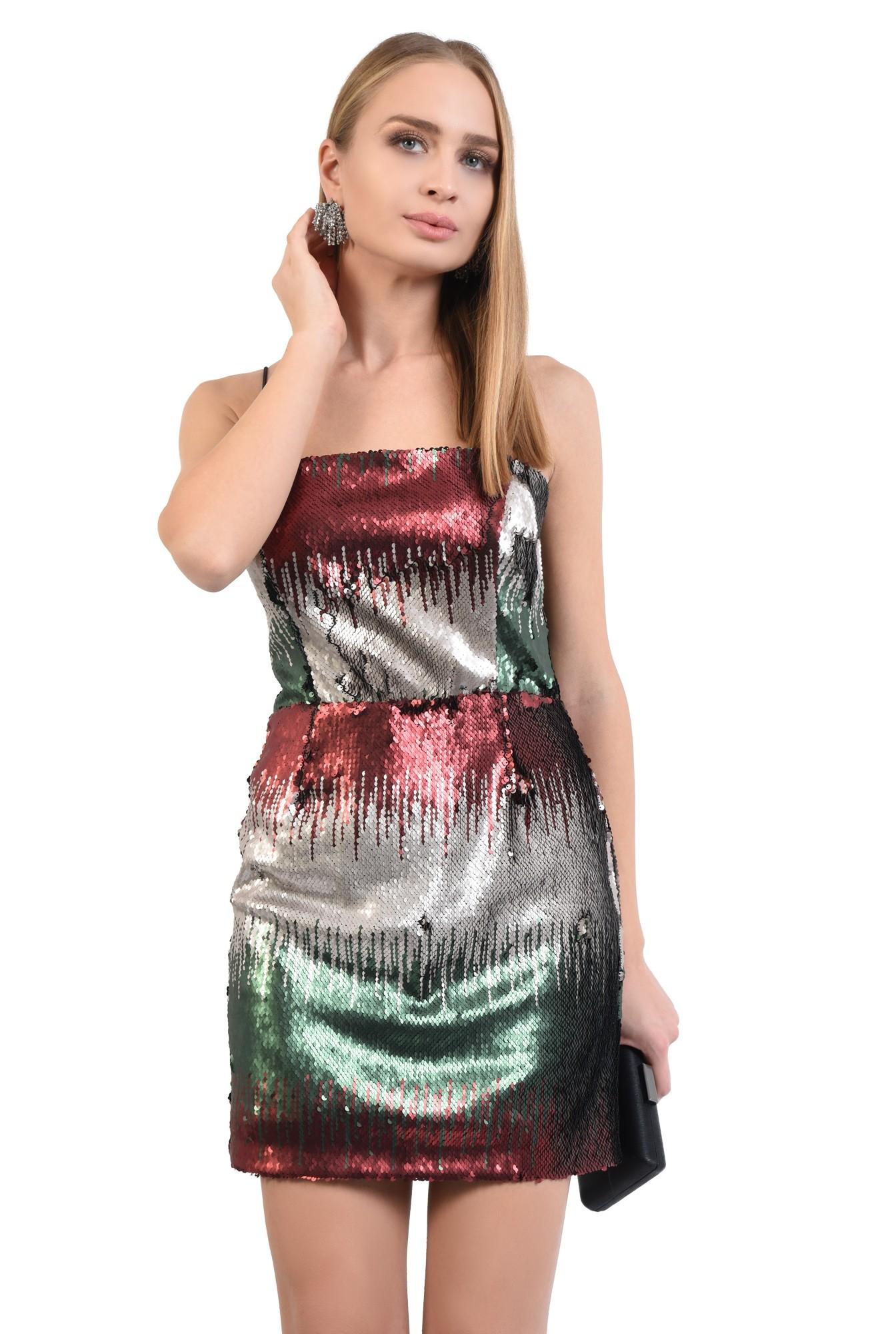 rochie de seara, cu paiete multicolore, mini, cambrata, bretele suntiri