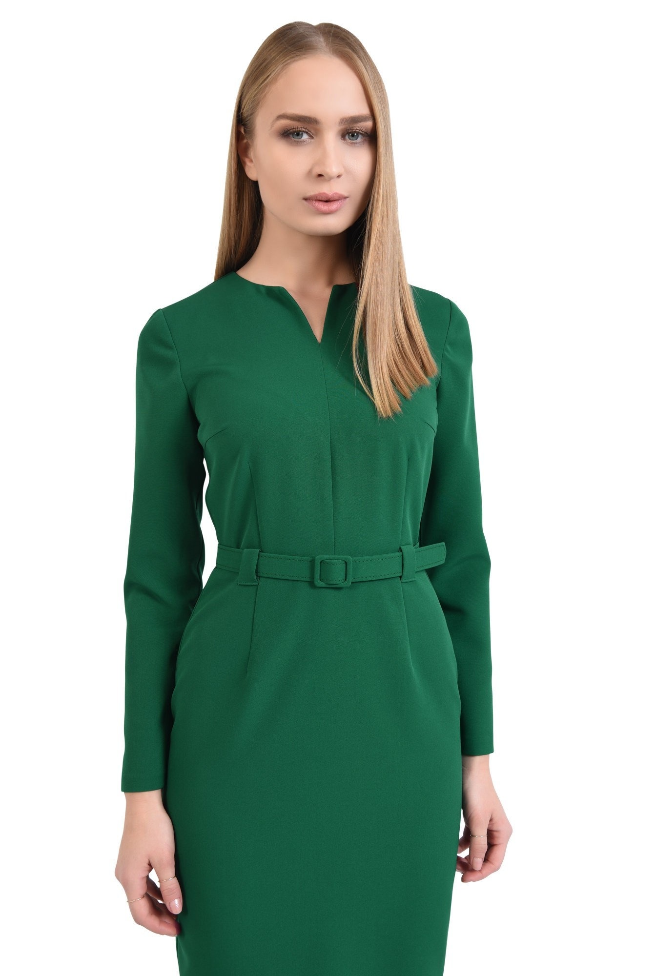 rochie casual, midi, maneci lungi, centura ingusta, verde