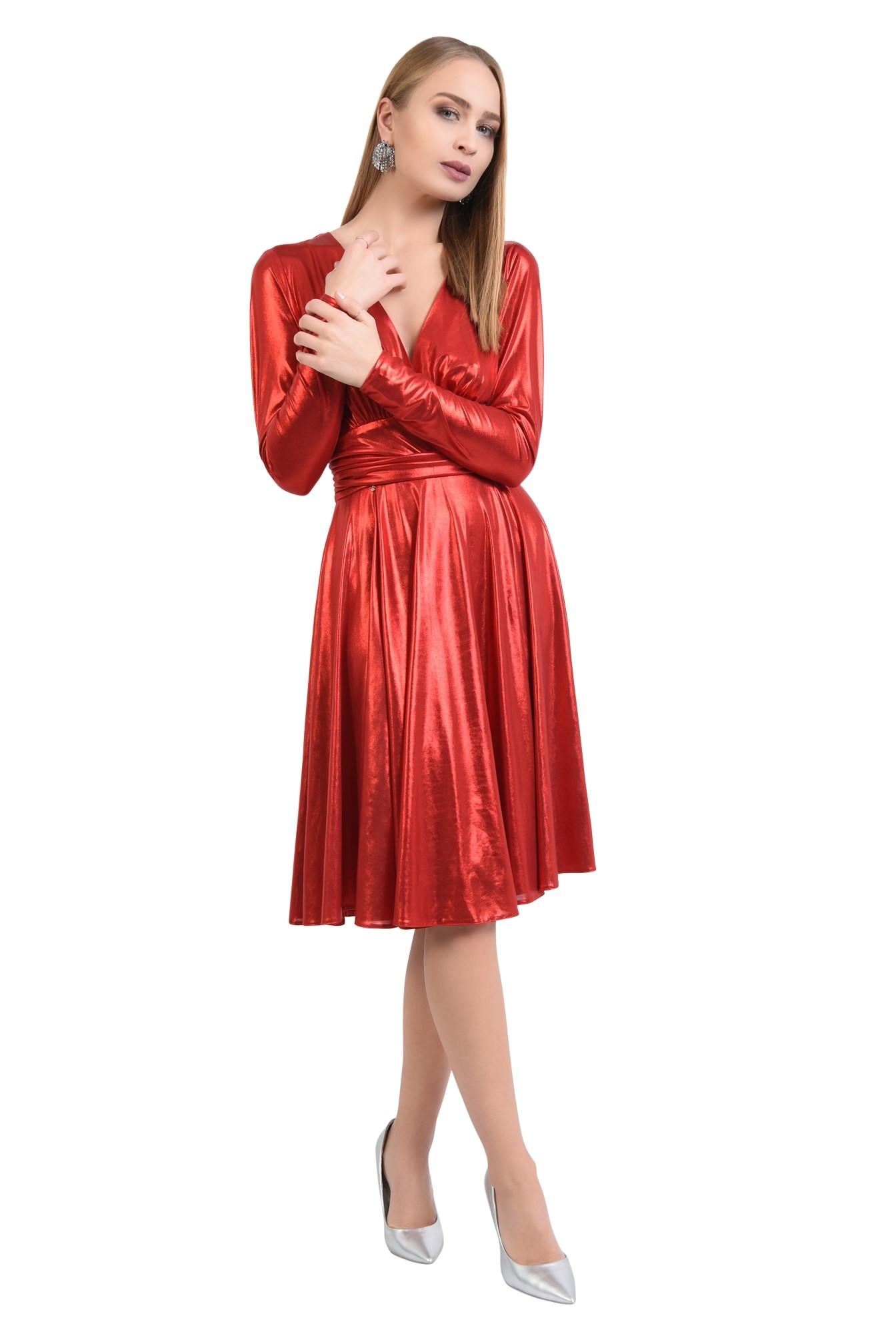 rochie de ocazie, jerse peliculizat, midi, evazata, decolteu anchior