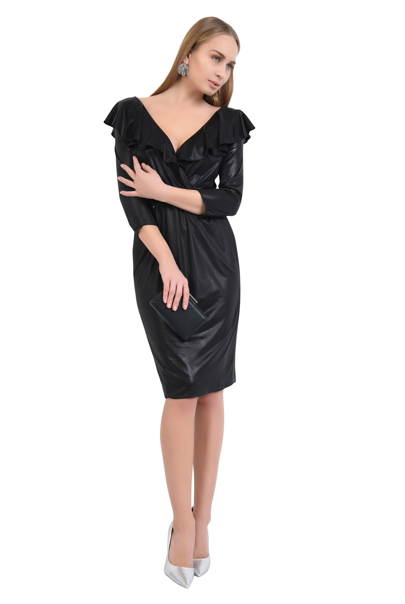 rochie neagra, de ocazie, midi, cambrata cu elastic, cu volane