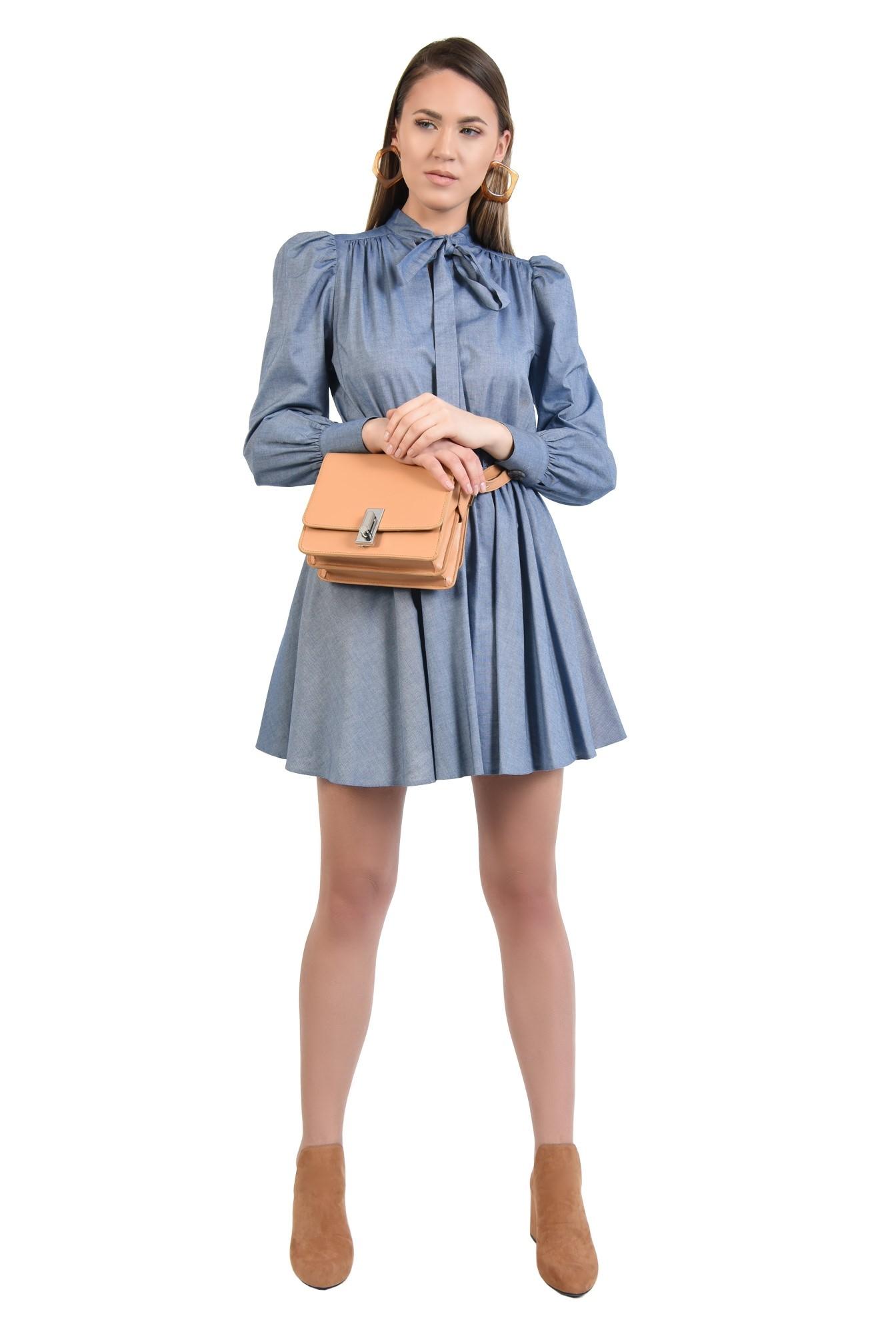 rochie casual, bleu, scurta, evazata, funda cu la gat