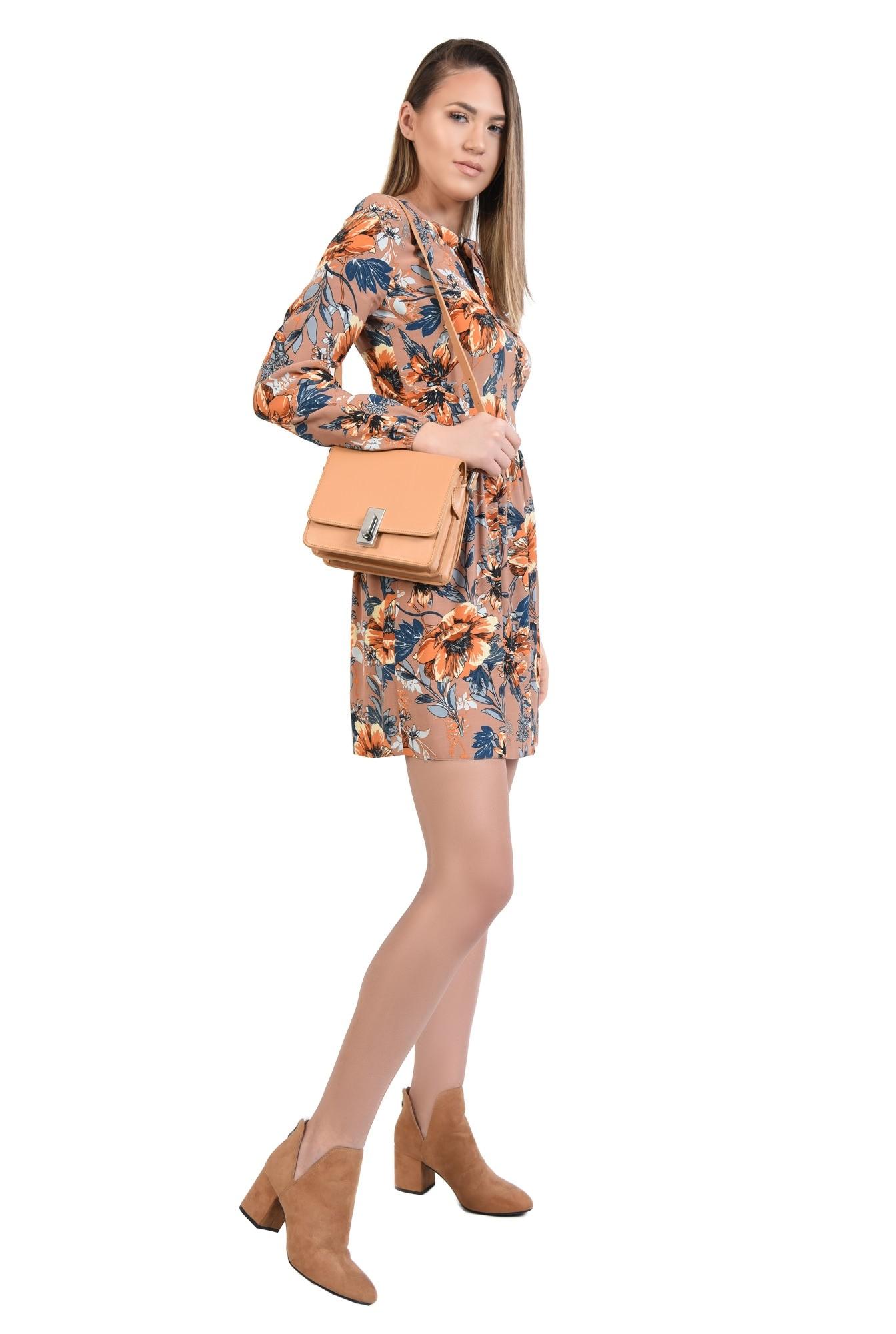 rochie casual, de primavara, din vascoza, cu imprimeu floral