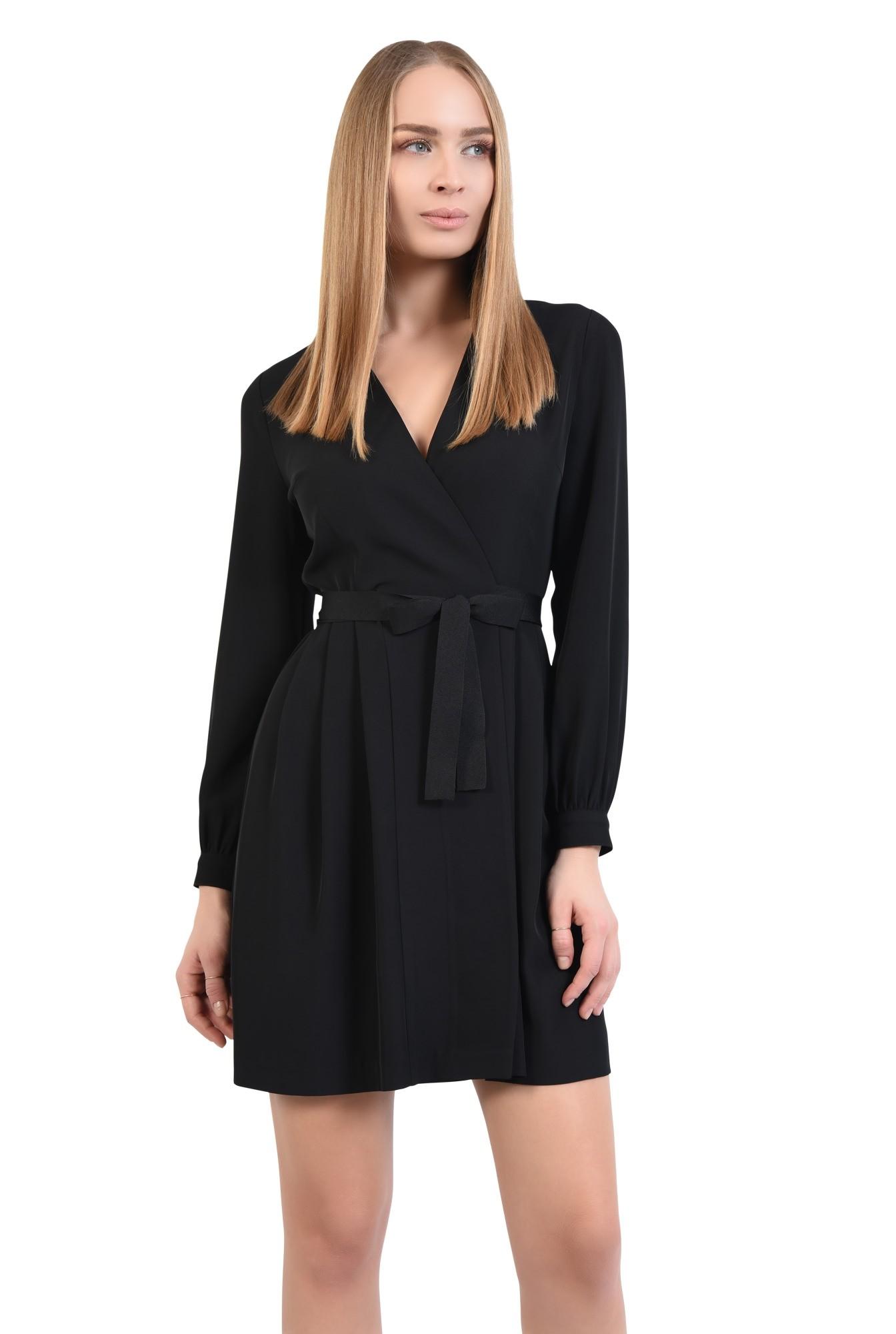 rochie neagra, casual, mini, croi parte peste parte