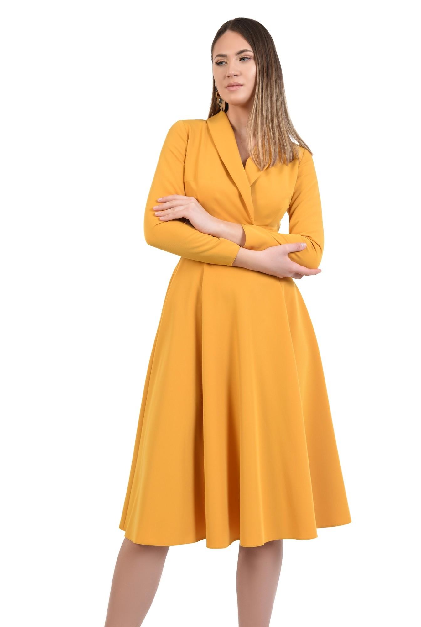 rochie eleganta, de zi, mustar, maneci ajustate, anchior petrecut