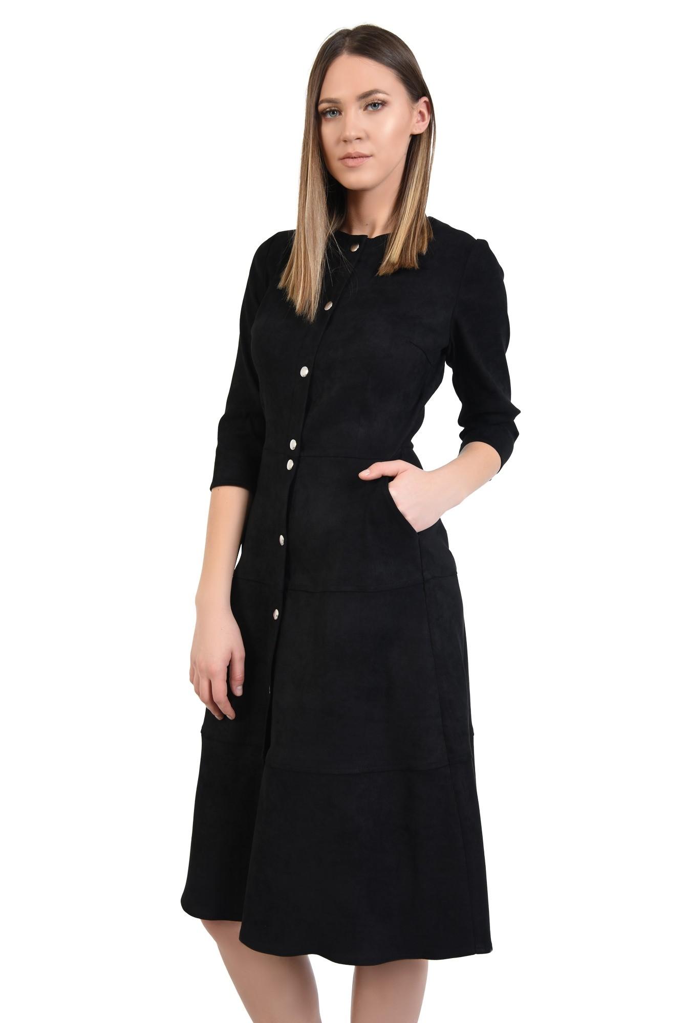 rochie neagra, midi, evazata, din piele intoarsa ecologica