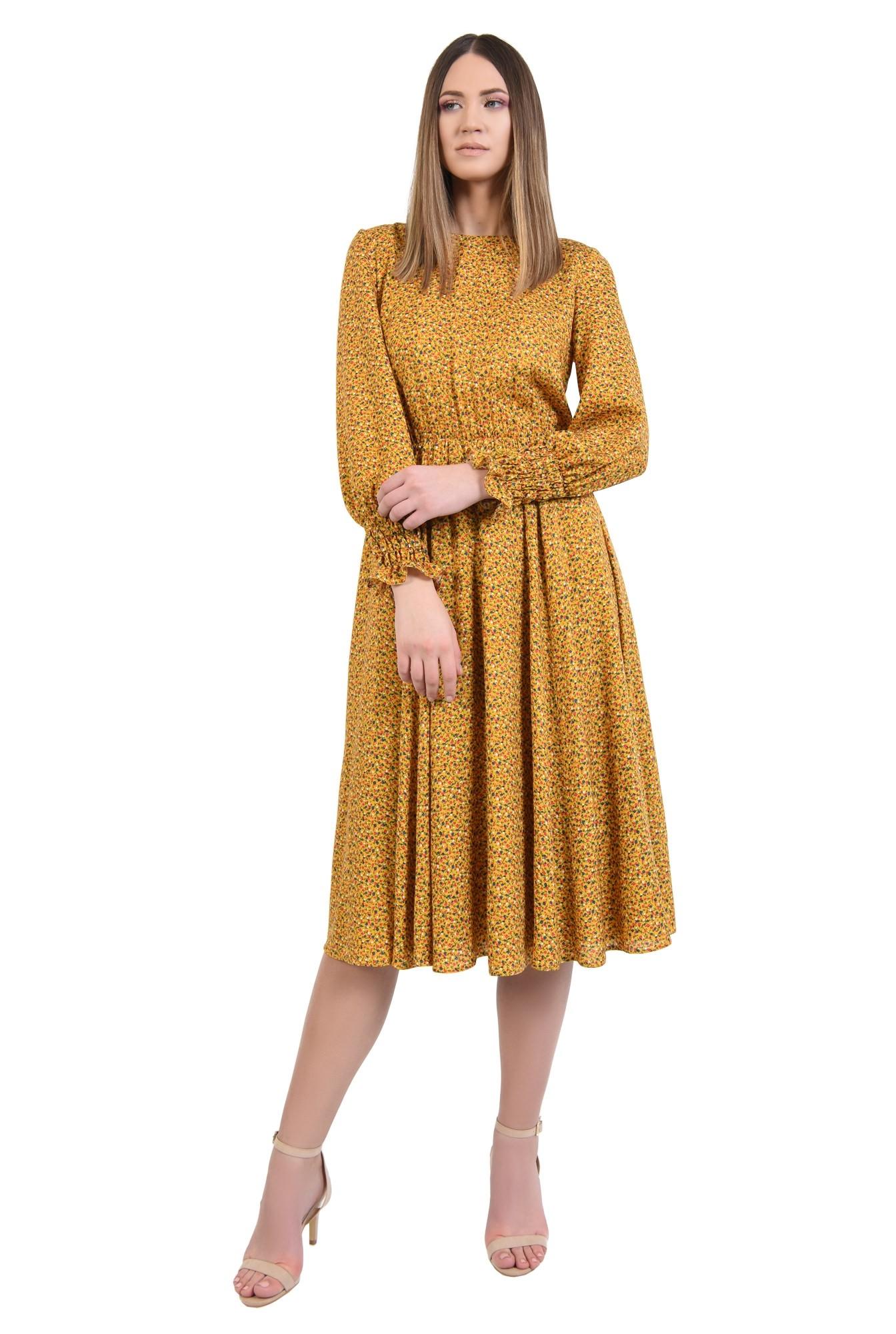 rochie midi, din viscoza, cu imprimeu, maneci lungi cu mansete, croi clos