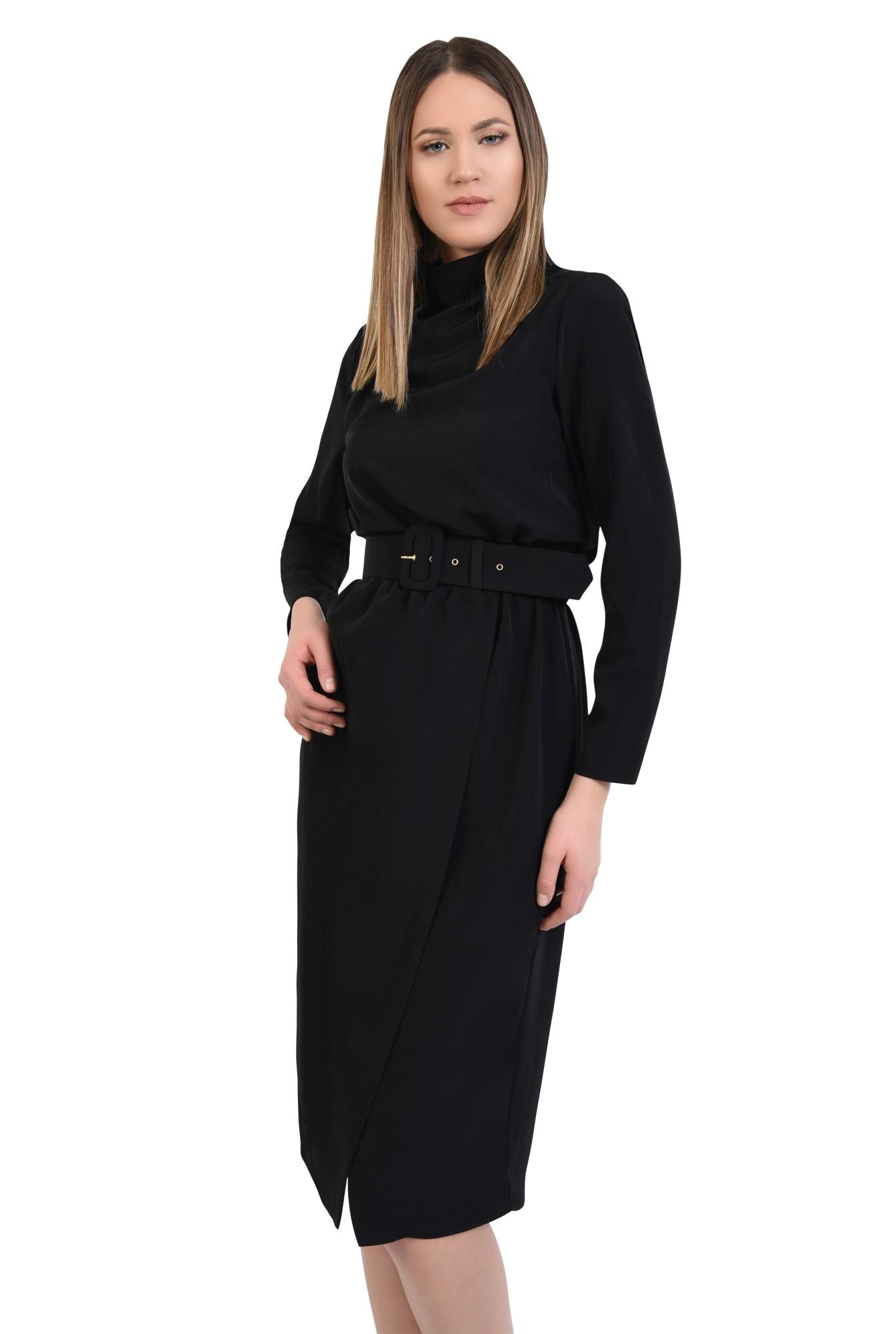 rochie neagra, de zi, croi cambrat cu elastic, maneci lungi