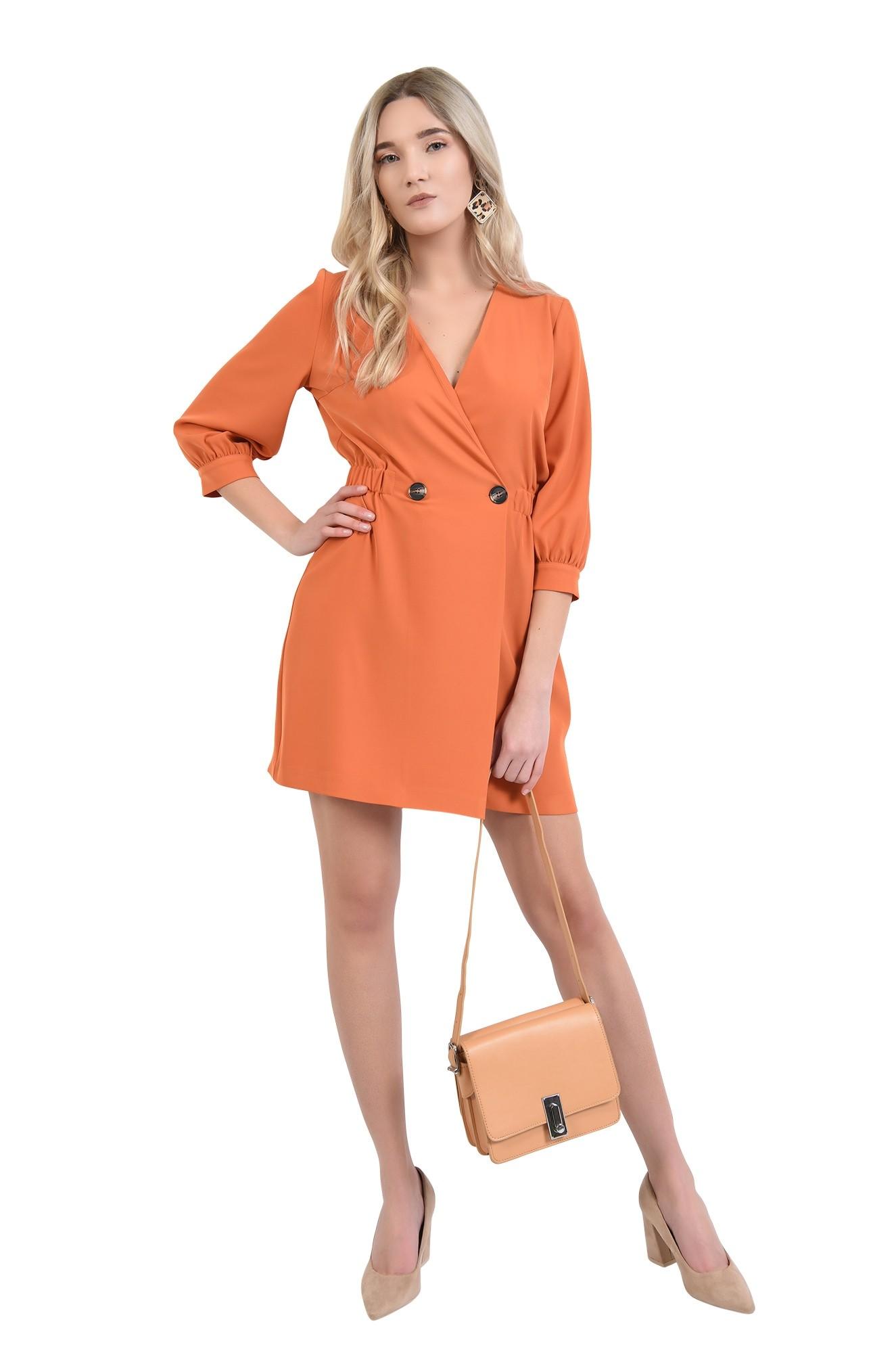 rochie orange, mini, anchior petrecut, inchidere la doi nasturi
