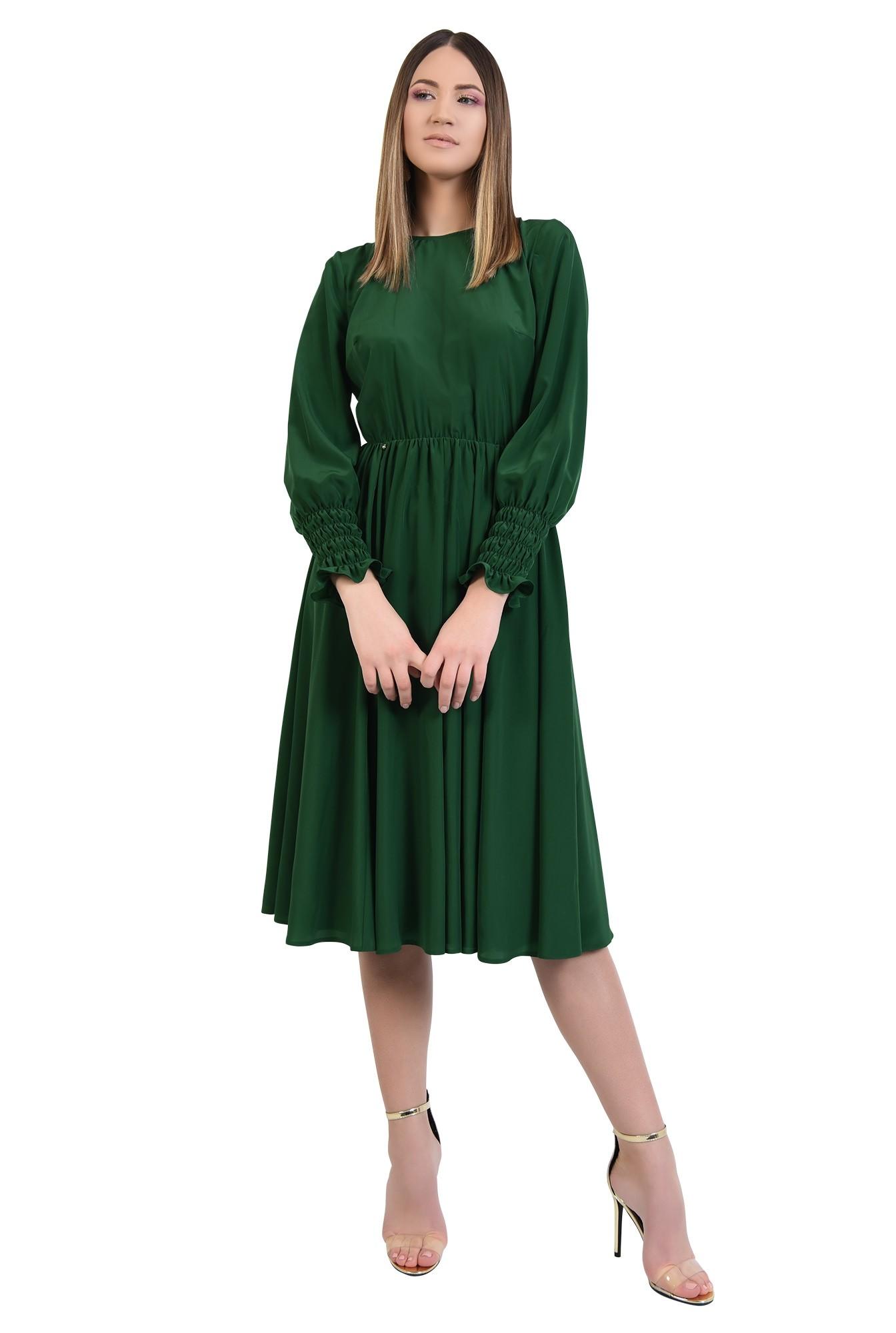 rochie de zi, pe bie, maneci cu mansete late, elastic in talie