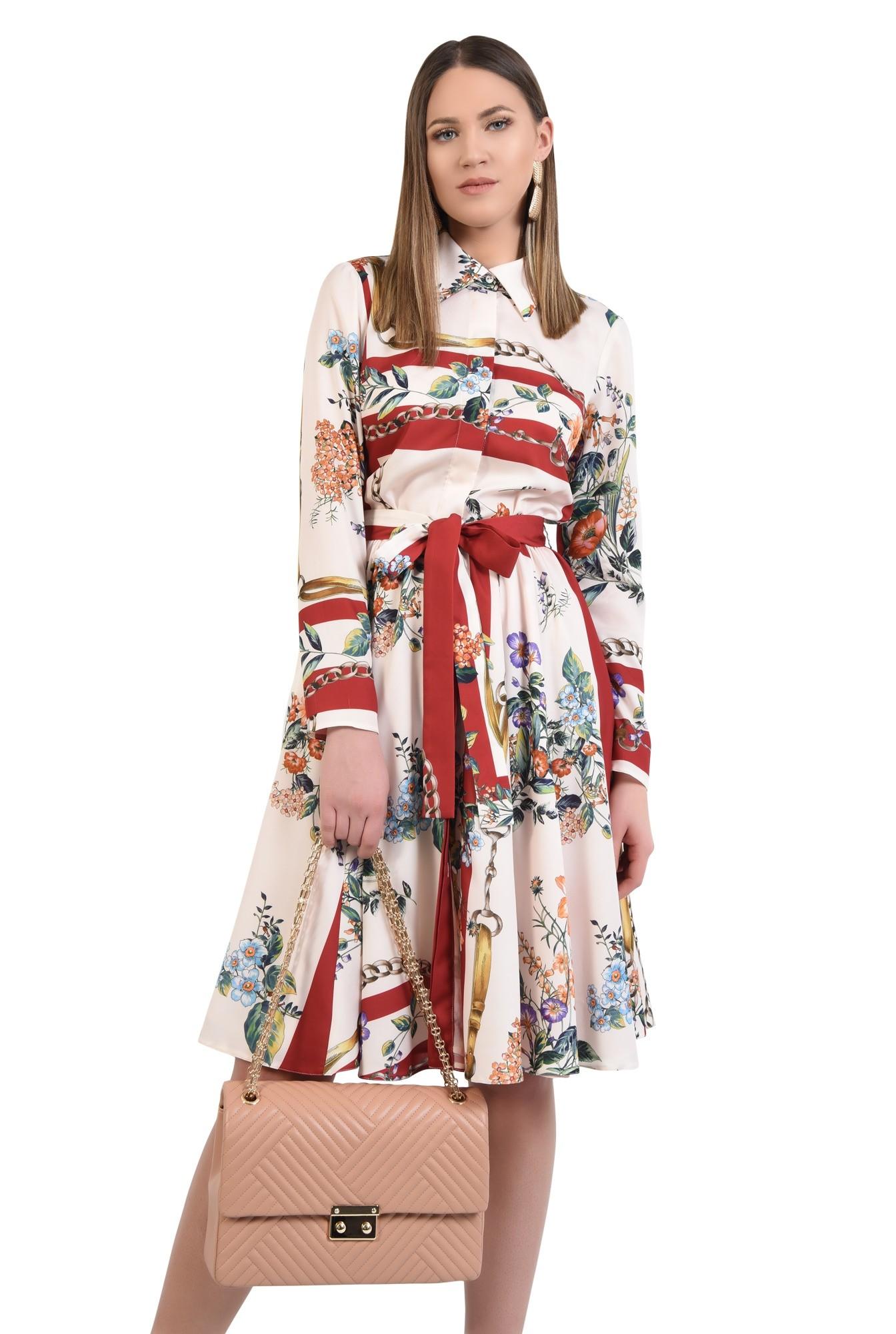 rochie casual, evazata, cu imprimeu, cu cordon, nasturi
