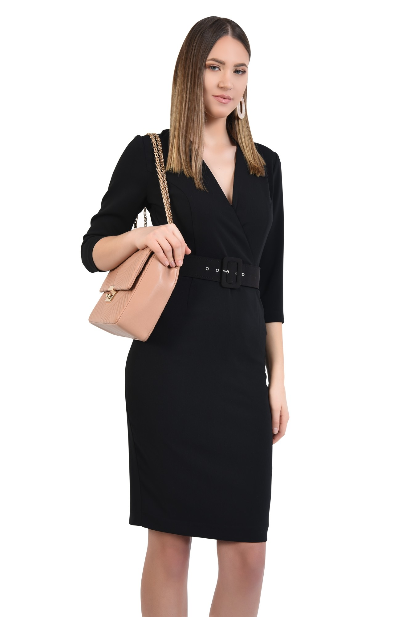 rochie neagra, office, conica, cu centura