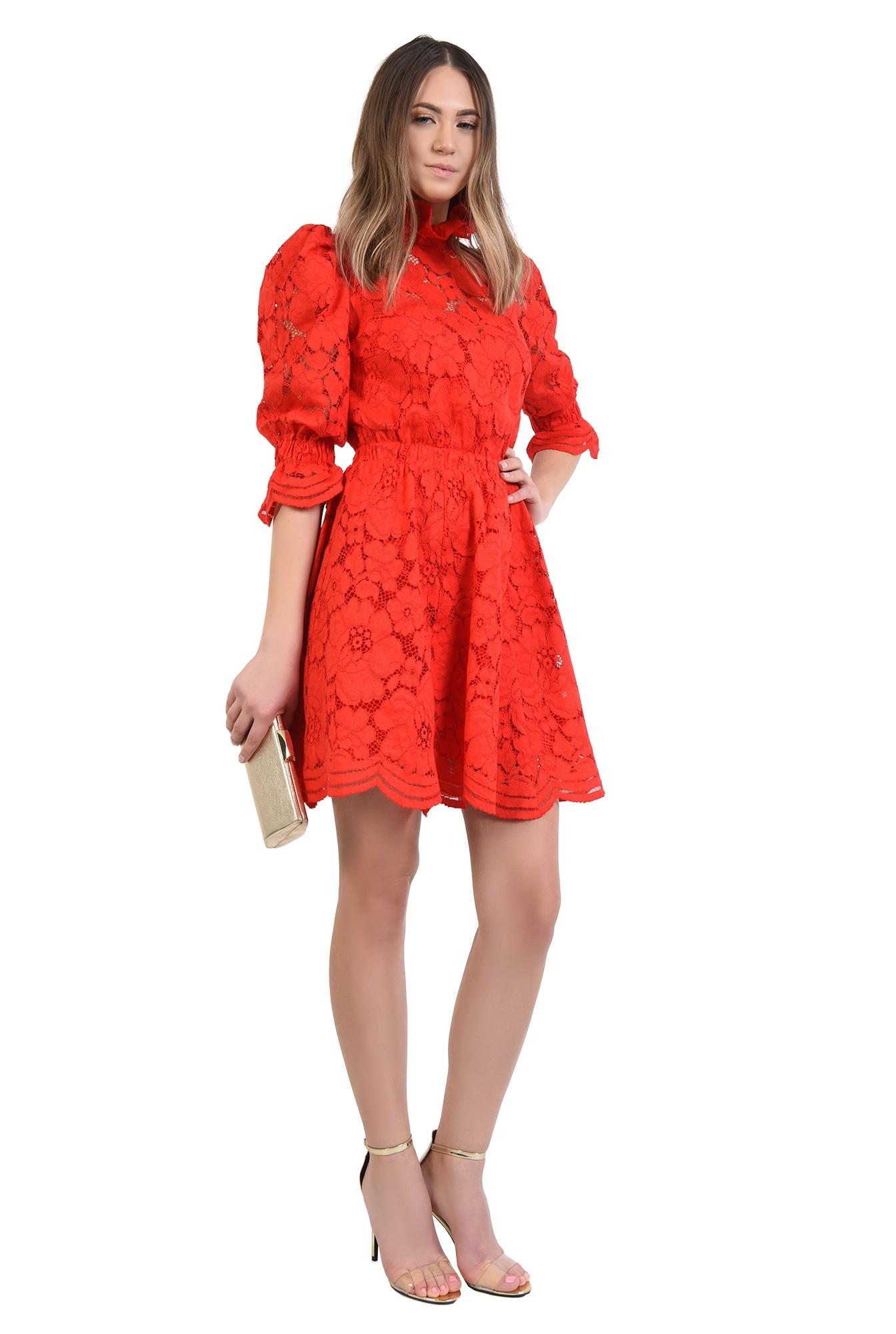 360 - rochie de ocazie, din dantela, rosie, clos, scurta