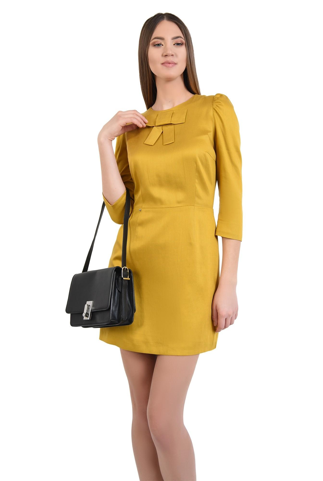 rochie casual, mustar, cu funda, maneci 3/4, rochie din in