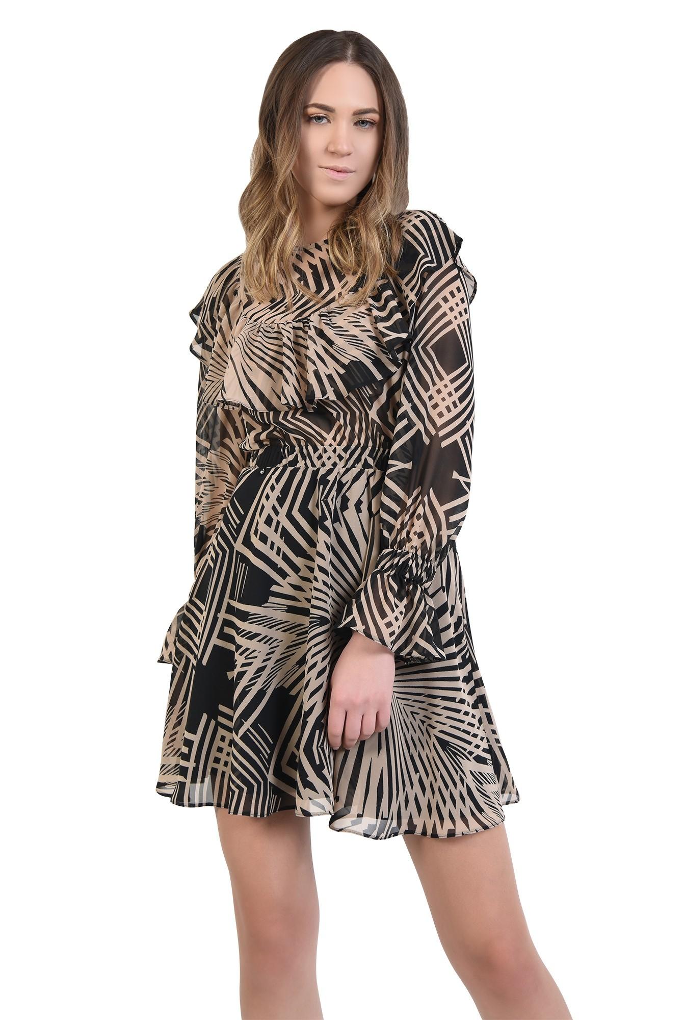 rochie mini, cu imprimeu abstract, negru, bej, talie pe elastic, volan