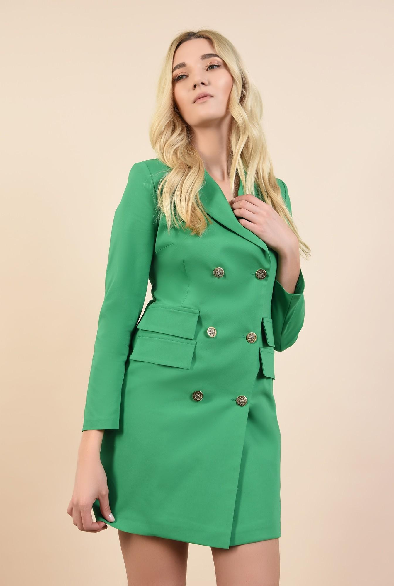 rochie sacou, verde, cu nasturi metalici, scurta, croi cambrat
