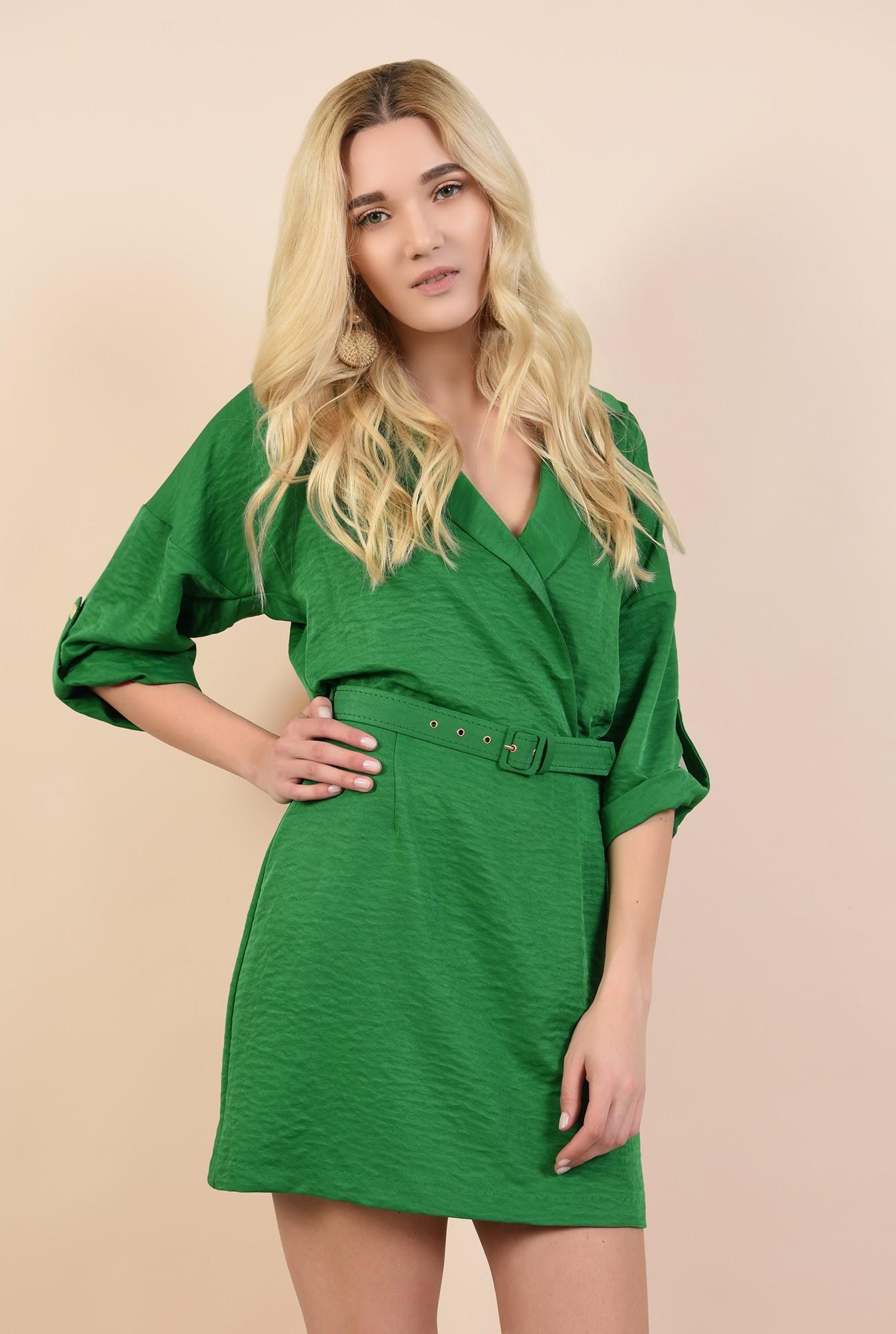 rochie casual, verde, scurta, anchior petrecut, cu revere, curea