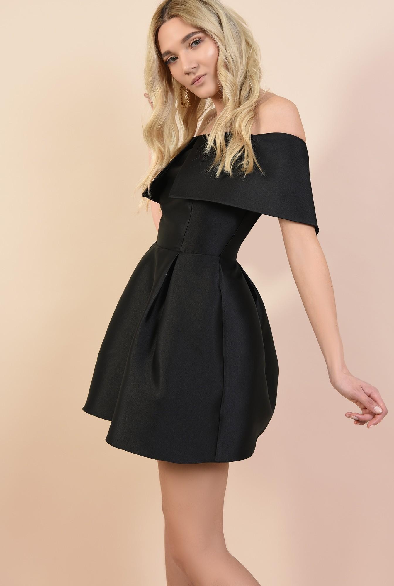 rochie mini, din tafta, de seara, cu pliuri decorative