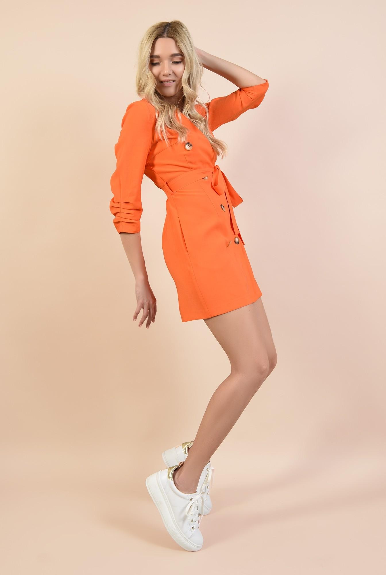 360 - rochie orange, casual, scurta, cu buzunare, fronseuri la maneci, cu nasturi