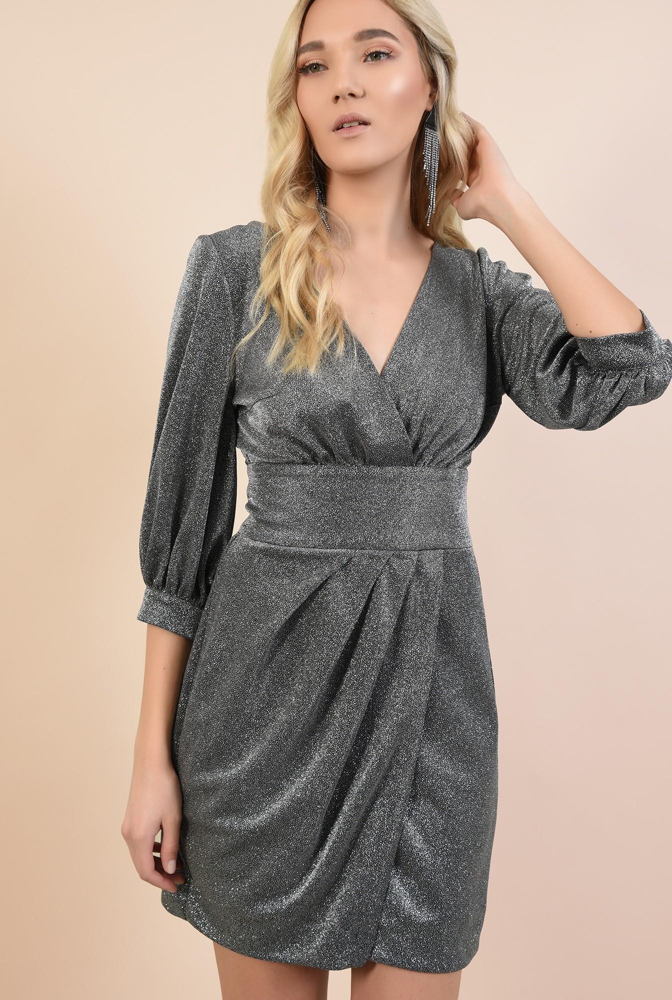rochie de ocazie, cu maneci bufante, cu anchior, parte peste parte