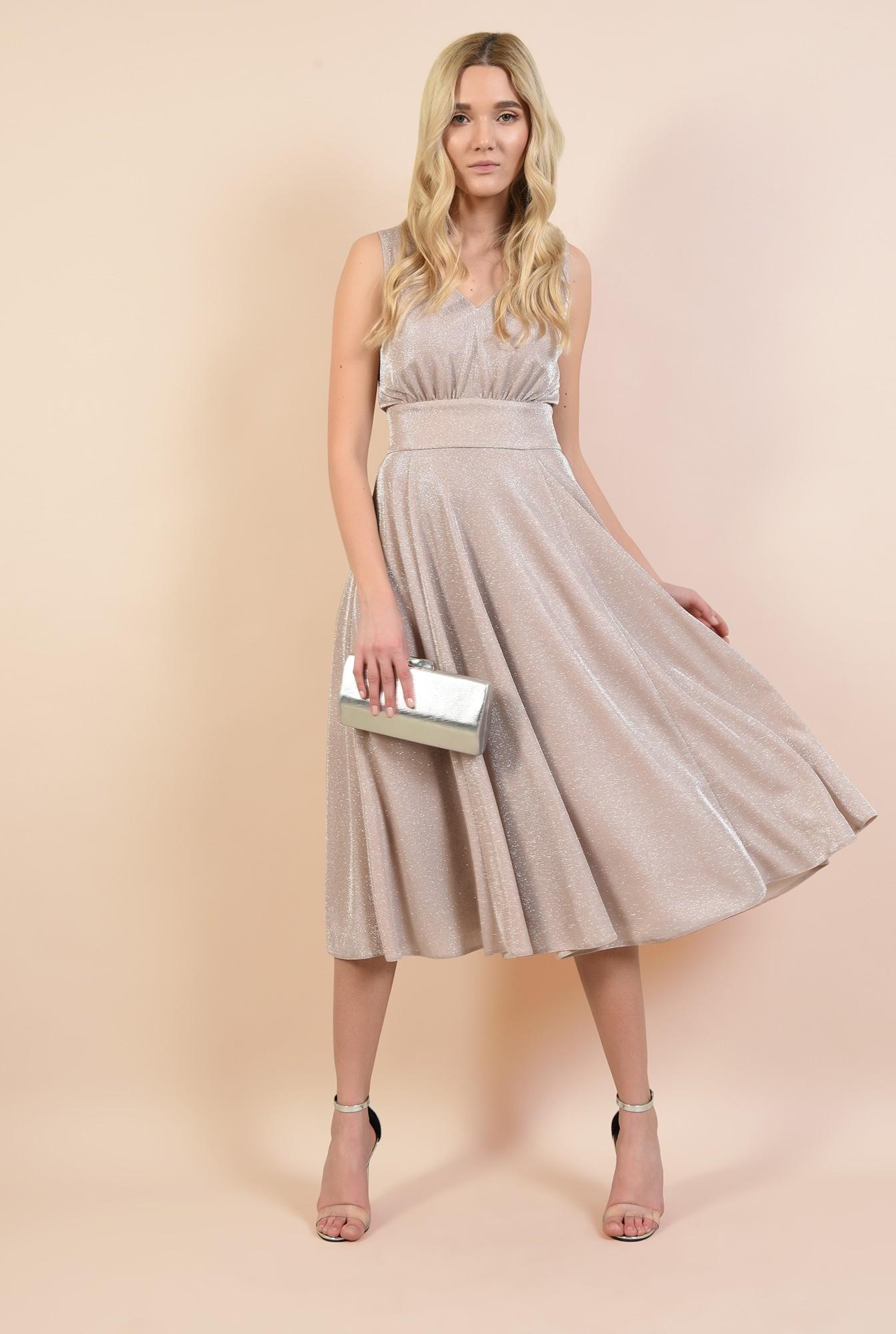 rochie eleganta, roz, cu sclipici, midi, evazata, Poema