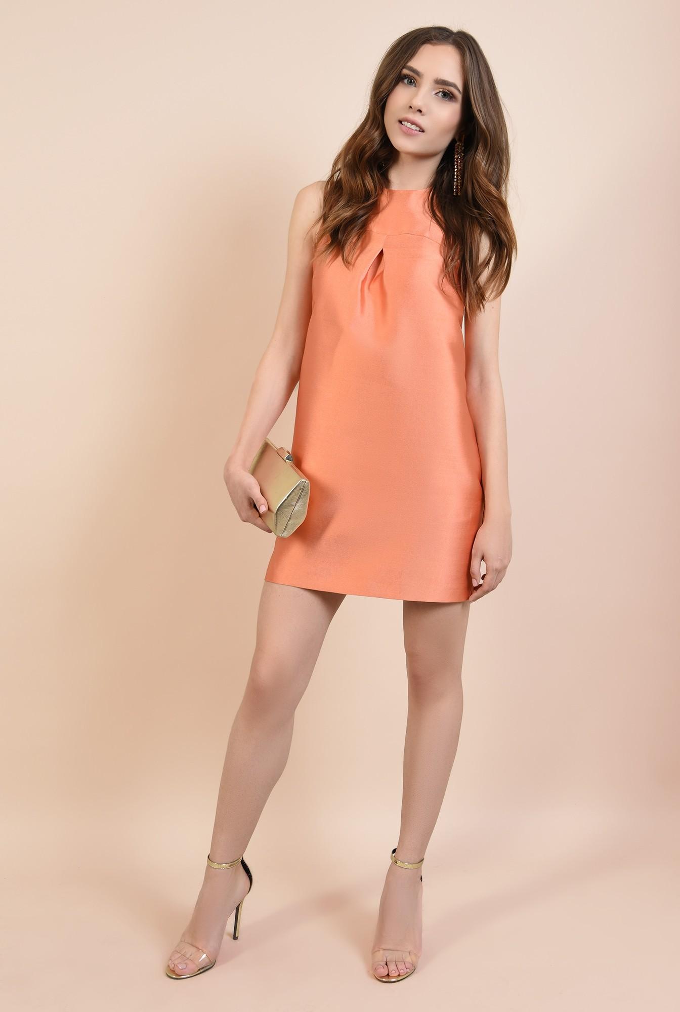 360 - rochie de seara, din tafta, orange, cu nasture fantezie, pliu decorativ