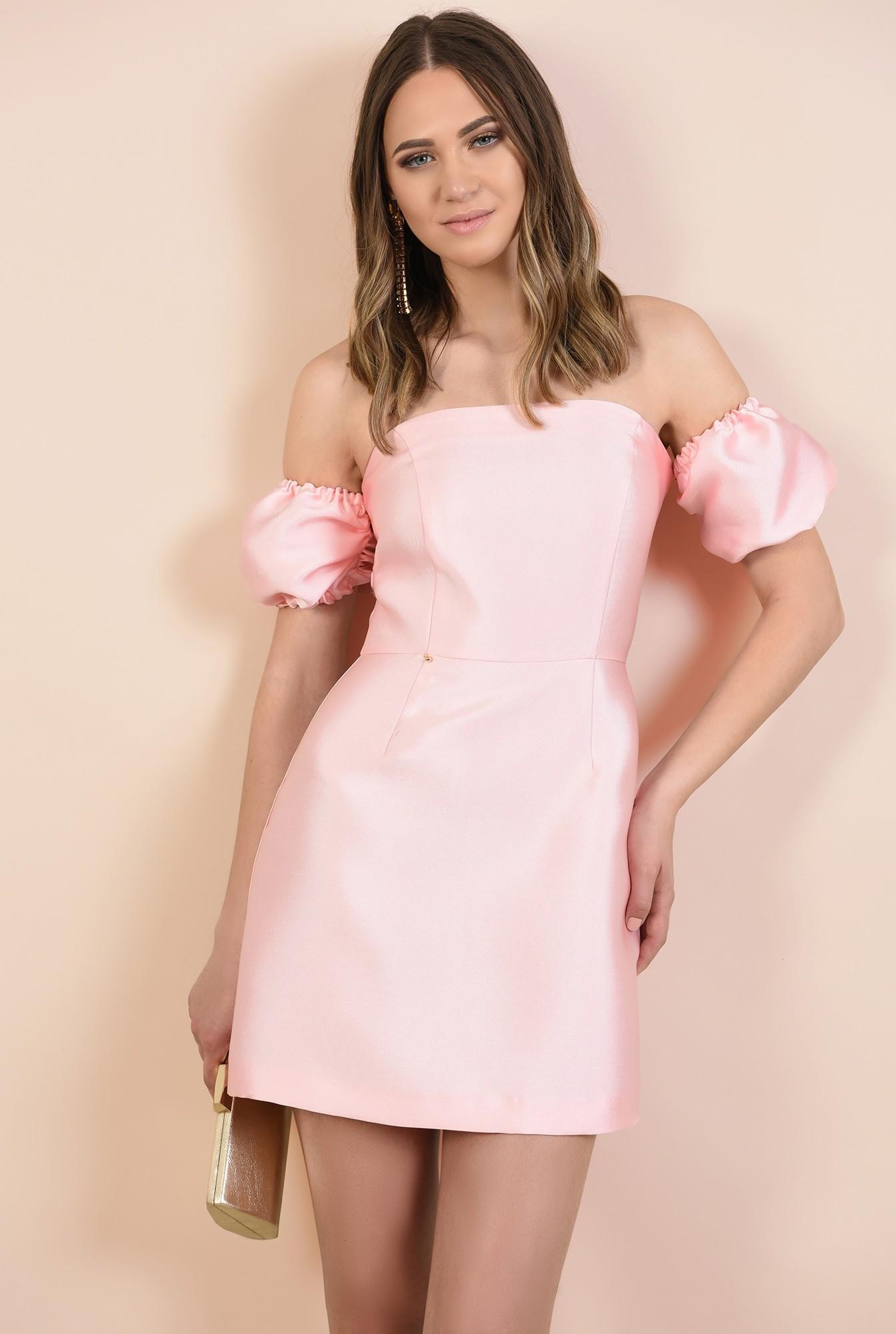 rochie de seara, din tafta roz, mini, croi cambrat, Poema, rochii online