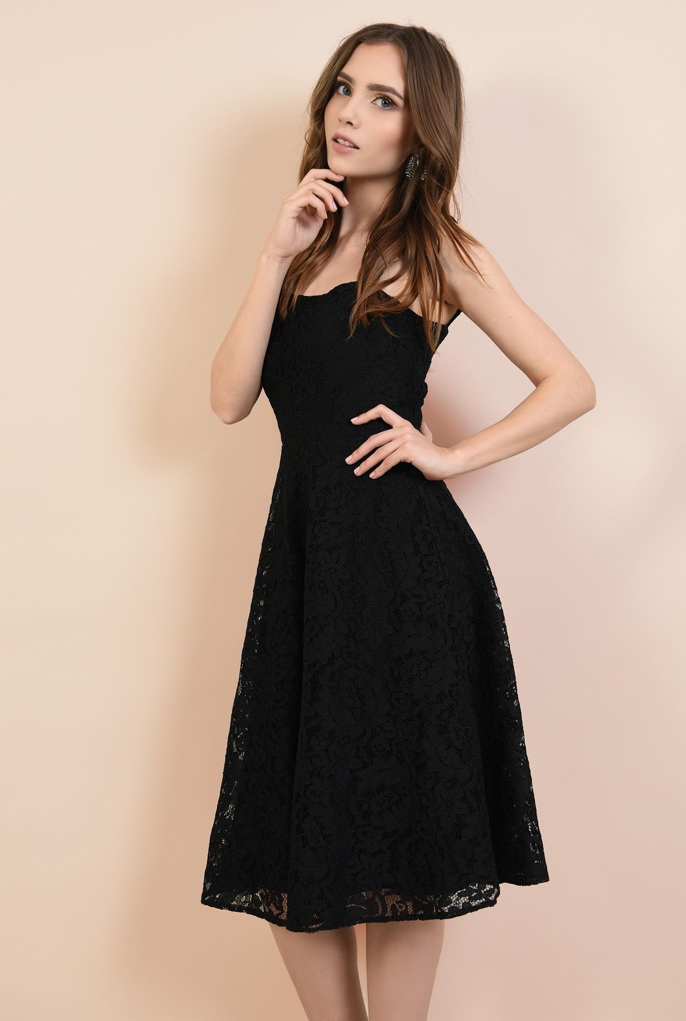 rochie de ocazie, neagra, din dantela, cu bretele, croi evazat, Poema